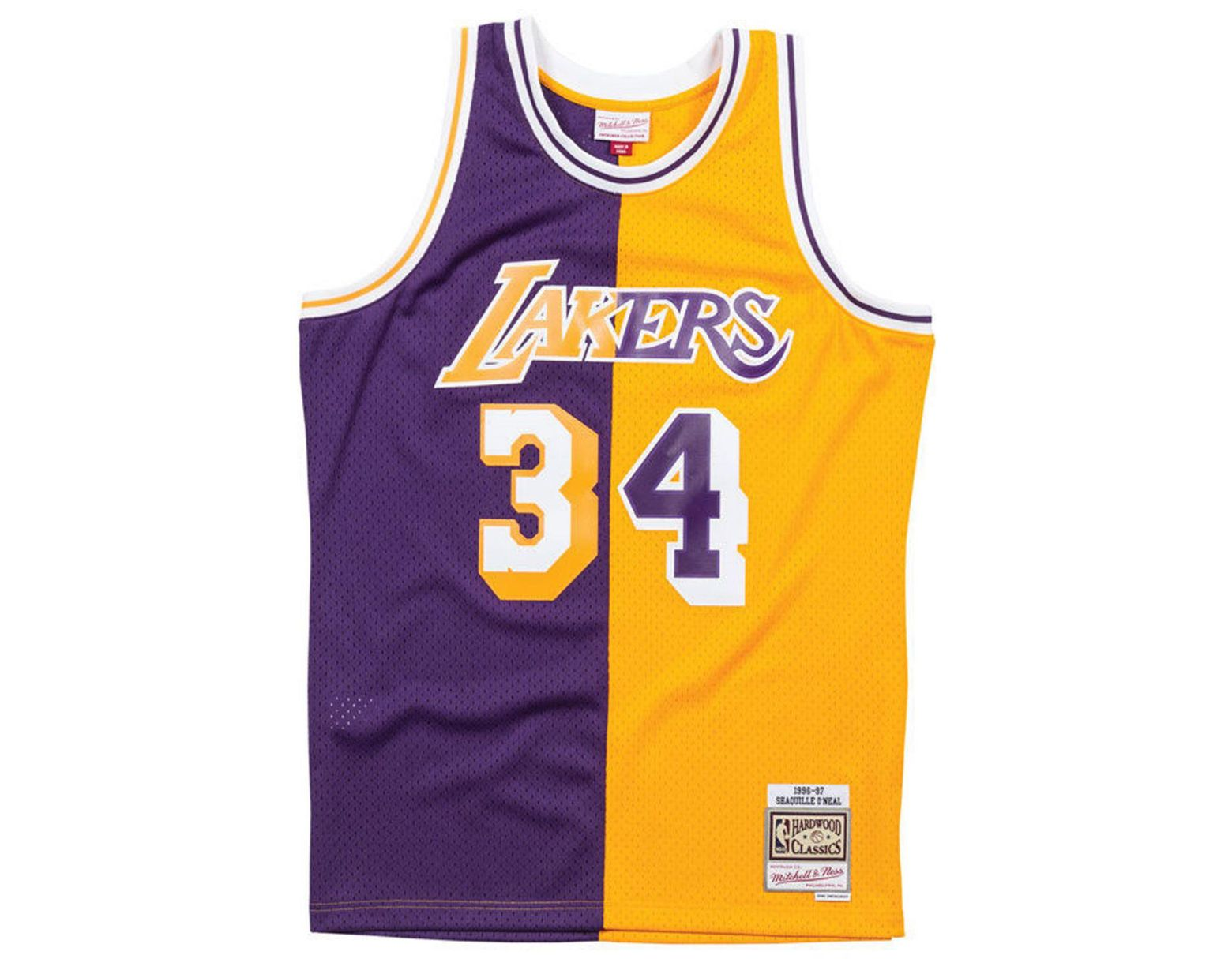9d753980c Mitchell   Ness Shaquille O neal Los Angeles Lakers Split Swingman Jersey  in Purple for Men - Lyst
