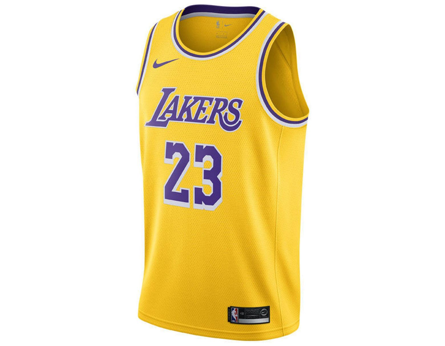6dc51c9ba Nike Lebron James Los Angeles Lakers Icon Swingman Jersey in Yellow for Men  - Lyst