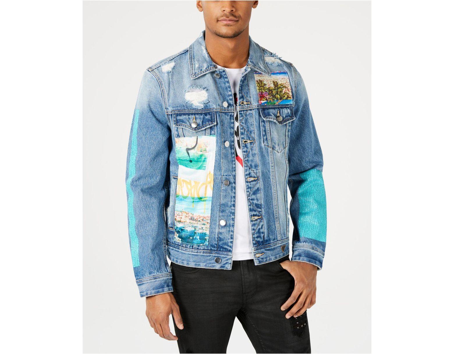 0c6ecf7069d Guess Destructed Patch Denim Jacket in Blue for Men - Lyst