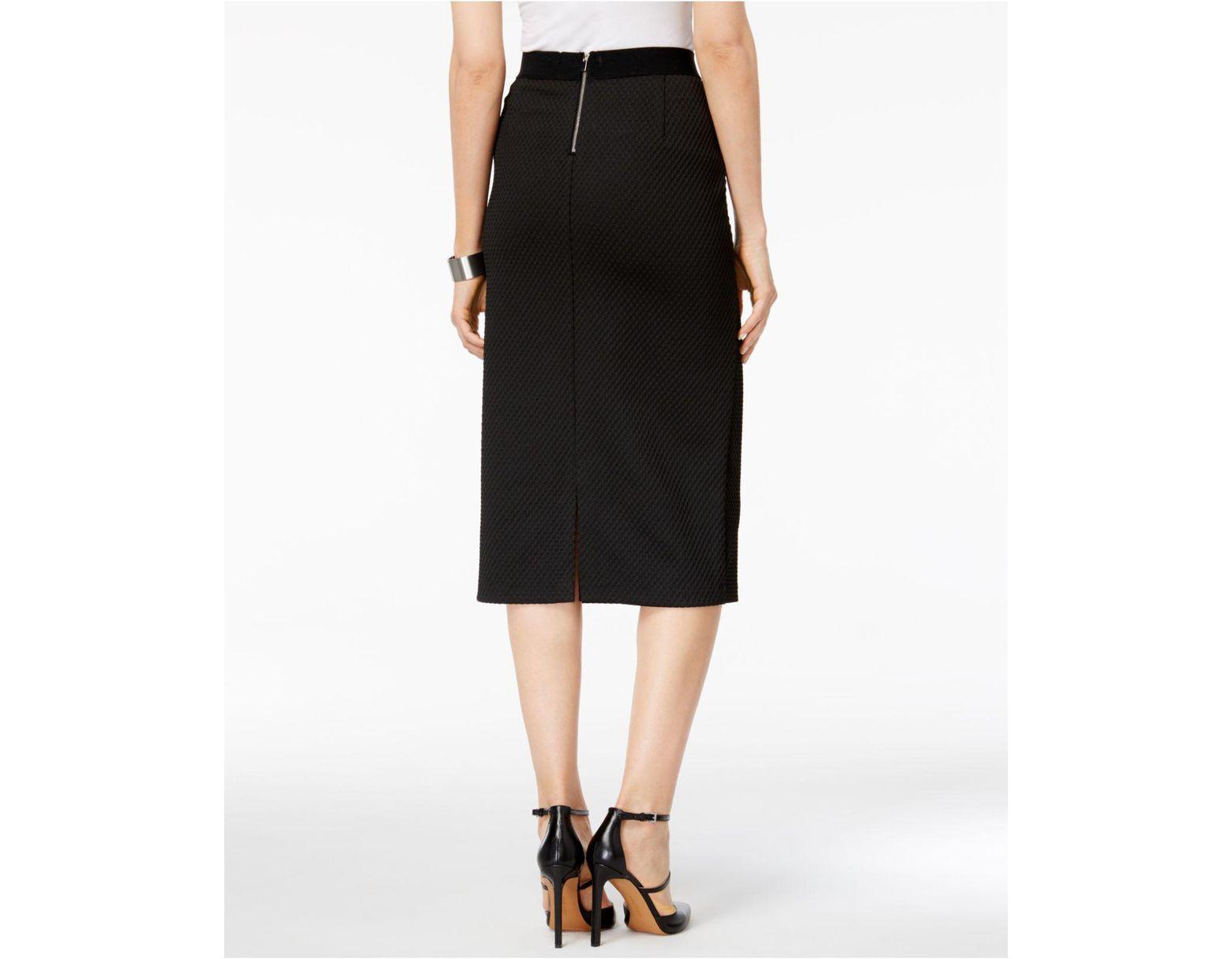 8b8670795b Alfani Gingham Midi Pencil Skirt in Black - Lyst
