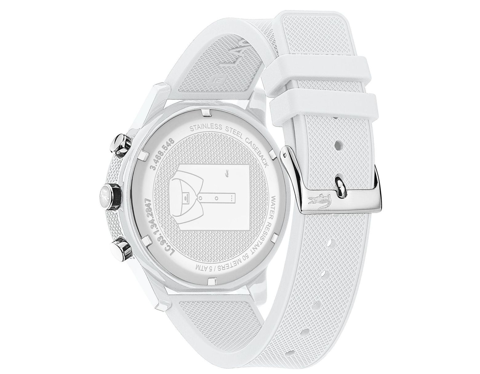 4df61d3c2 Lacoste Men's White Chronograph Silicone Strap Watch in White for Men -  Save 41% - Lyst