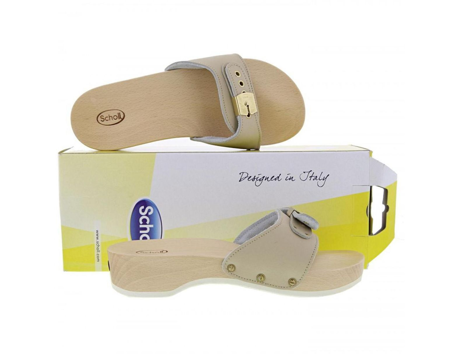 Natural Lyst Heel Slide Clogs Sandals In Scholl Pescura Wooden DYEH29eWI