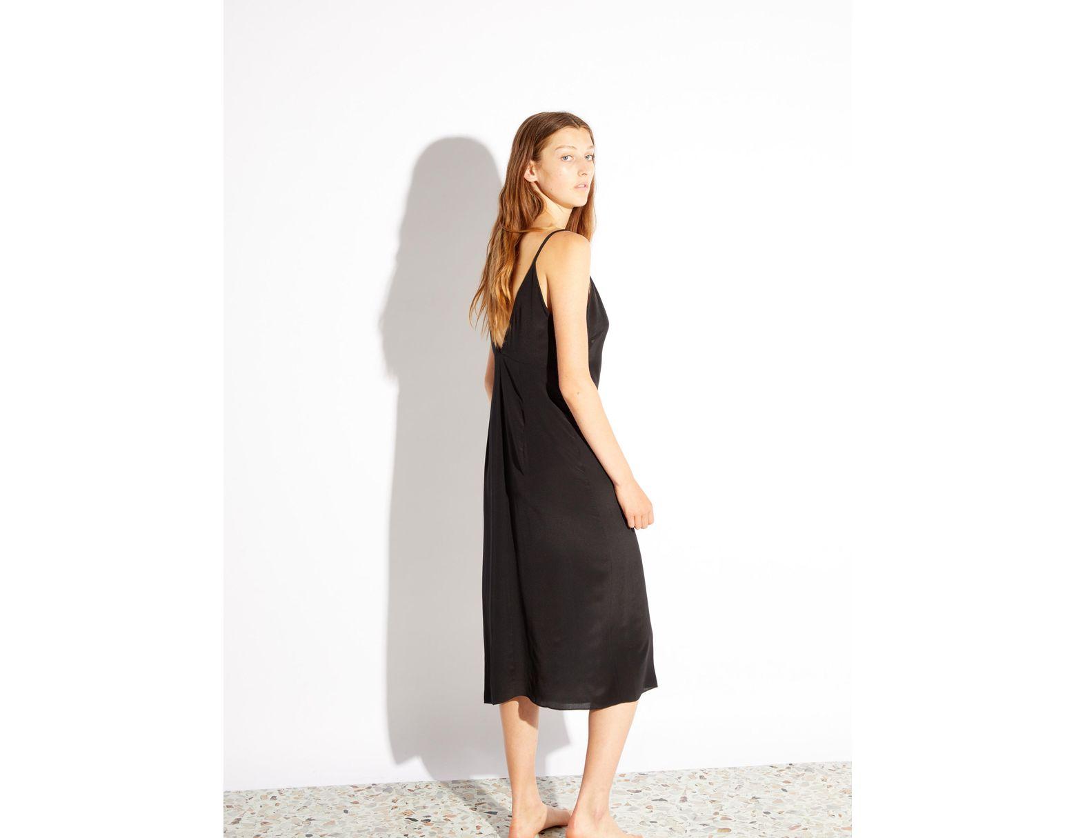 a04ab82b59671 Raey Fitted Deep V Neck Silk Slip Dress in Black - Lyst