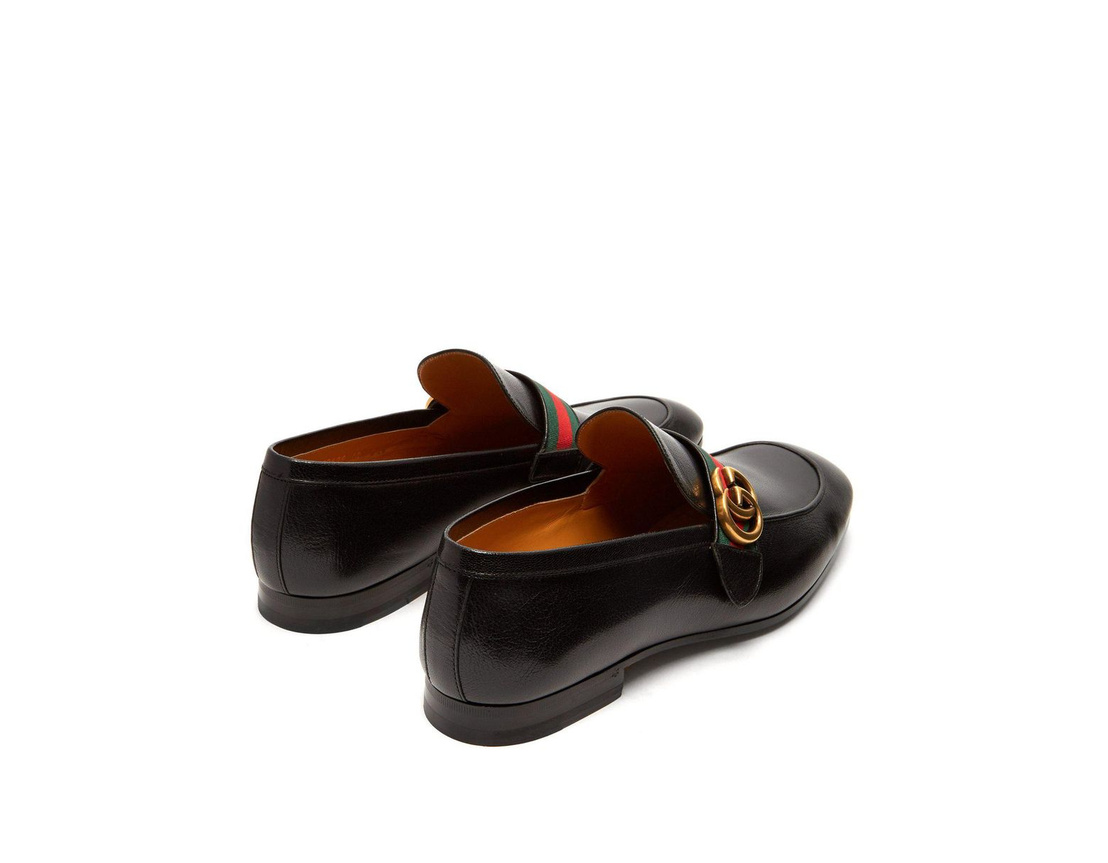 e3e683d0664 Lyst - Gucci Donnie Gg Web Stripe Leather Loafers in Black for Men - Save 5%