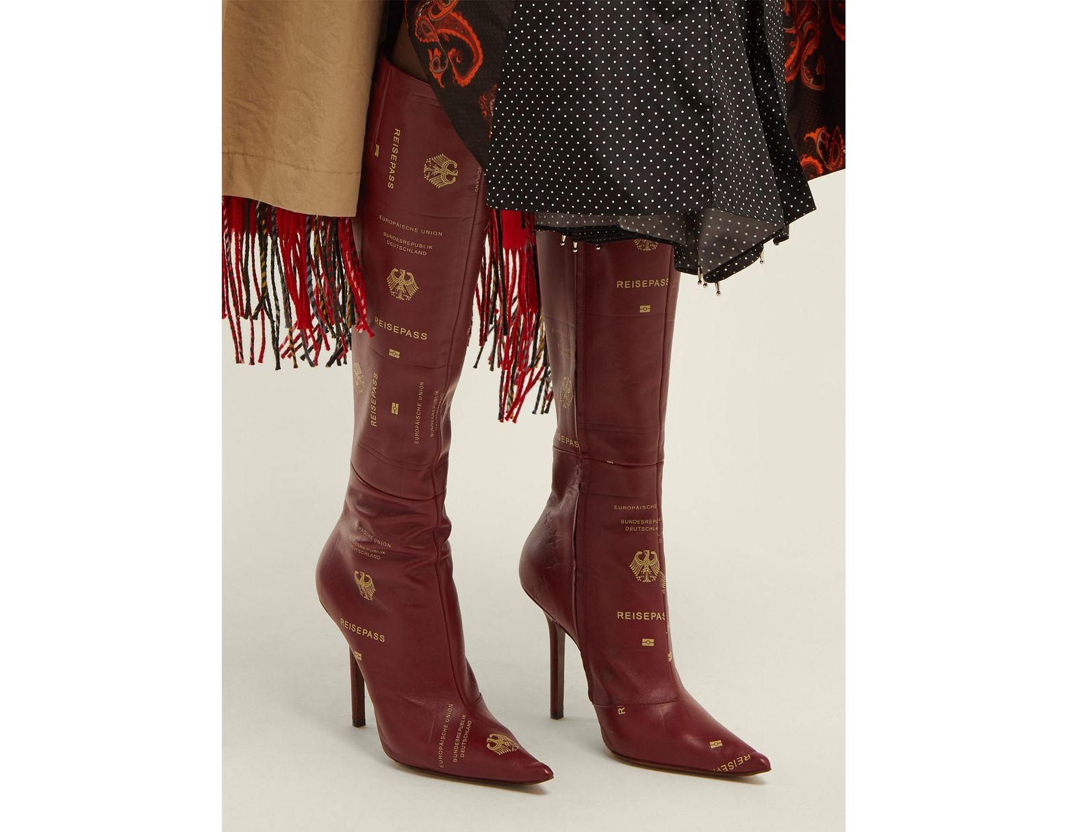 4f585e34d27 Vetements Passport Print Leather Knee High Boots in Red - Lyst