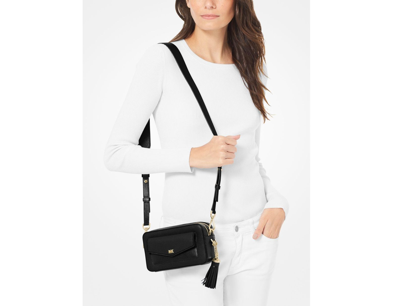 6097e4c5c97 MICHAEL Michael Kors Small Pebbled Leather Camera Bag in Black - Save 14% -  Lyst