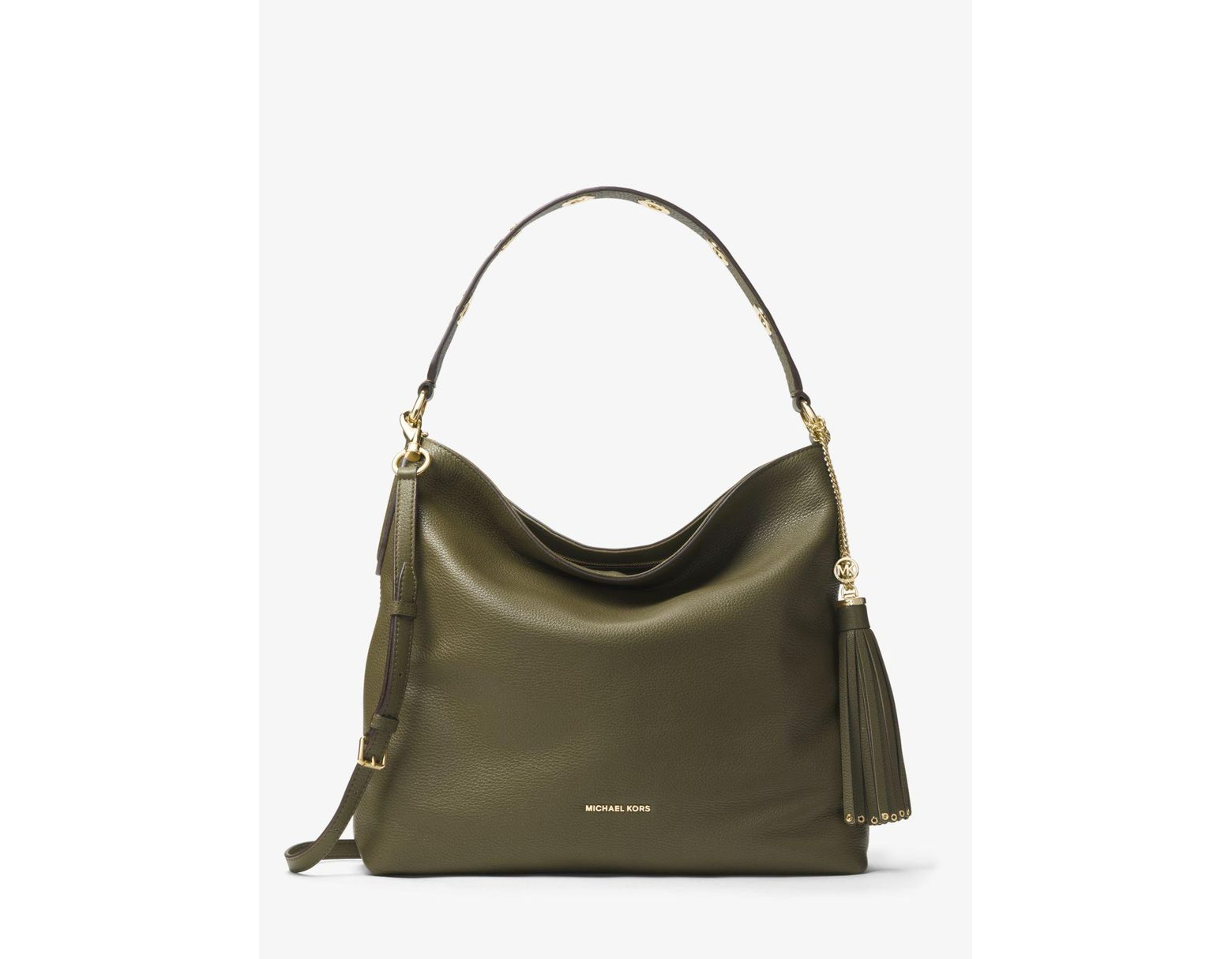 ae47b7711150 Michael Kors Brooklyn Large Leather Shoulder Bag in Green - Save 55% - Lyst