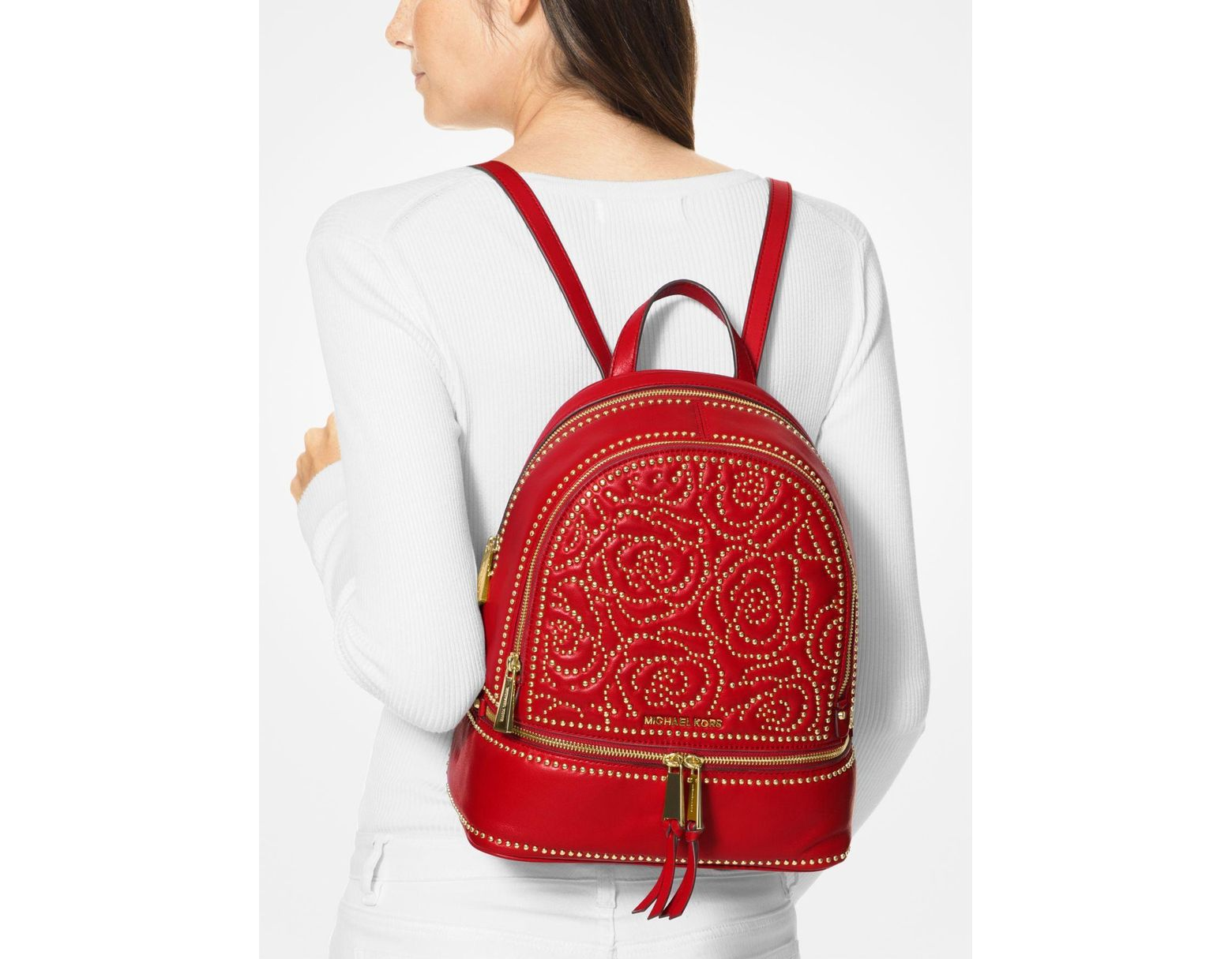 f427bd39159 MICHAEL Michael Kors Rhea Medium Rose Studded Leather Backpack in Red -  Save 57% - Lyst