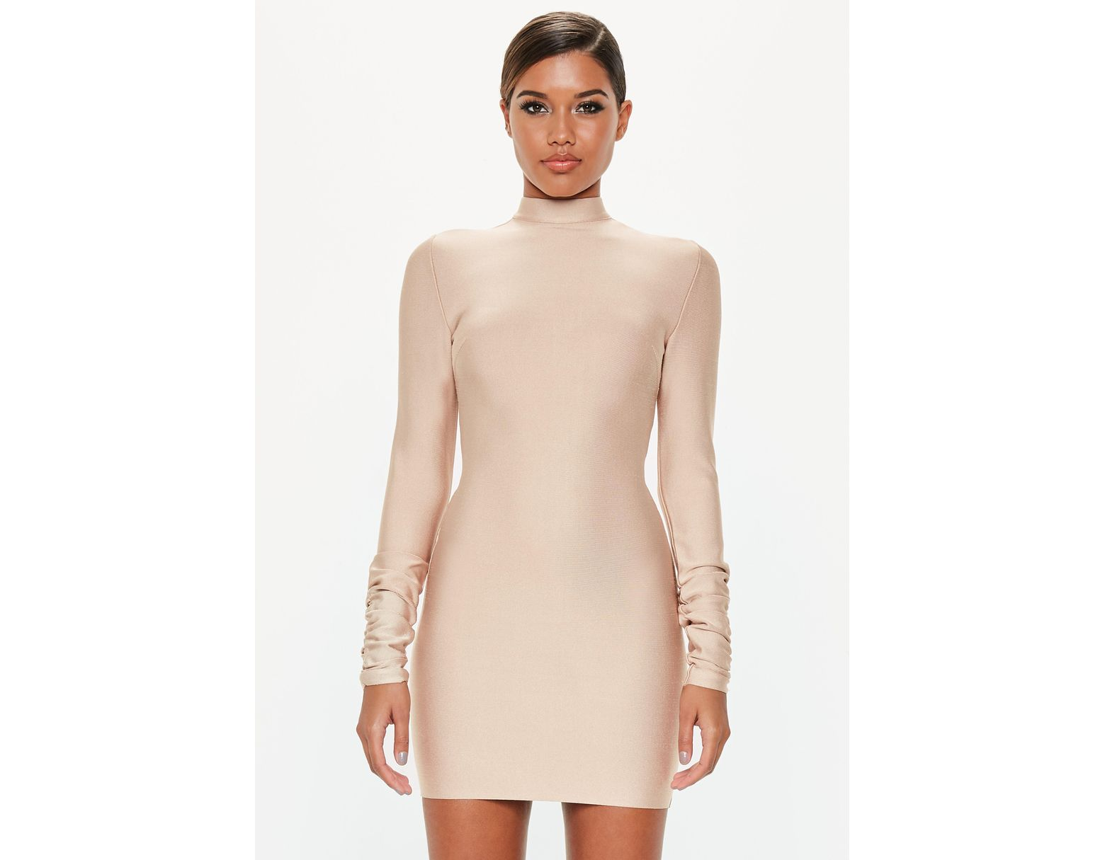 aca3ca5c118d Missguided Peace + Love Camel Bandage Ruched Sleeve Dress in Natural - Lyst