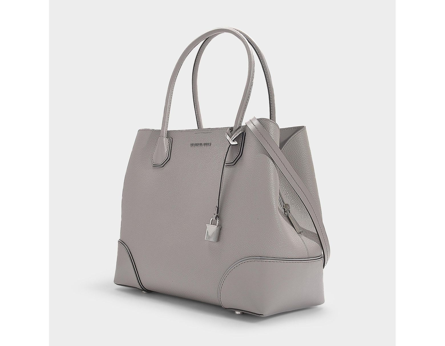 1e19689e271b7c MICHAEL Michael Kors Mercer Gallery Large Center Zip Tote Bag In Pearl Grey  Grained Calfskin in Gray - Lyst