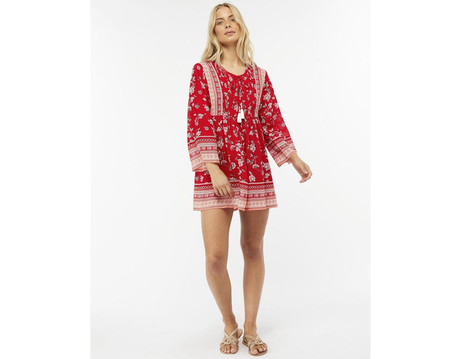 5f684d3555cf7 Monsoon Priscilla Print Dress in Red - Lyst