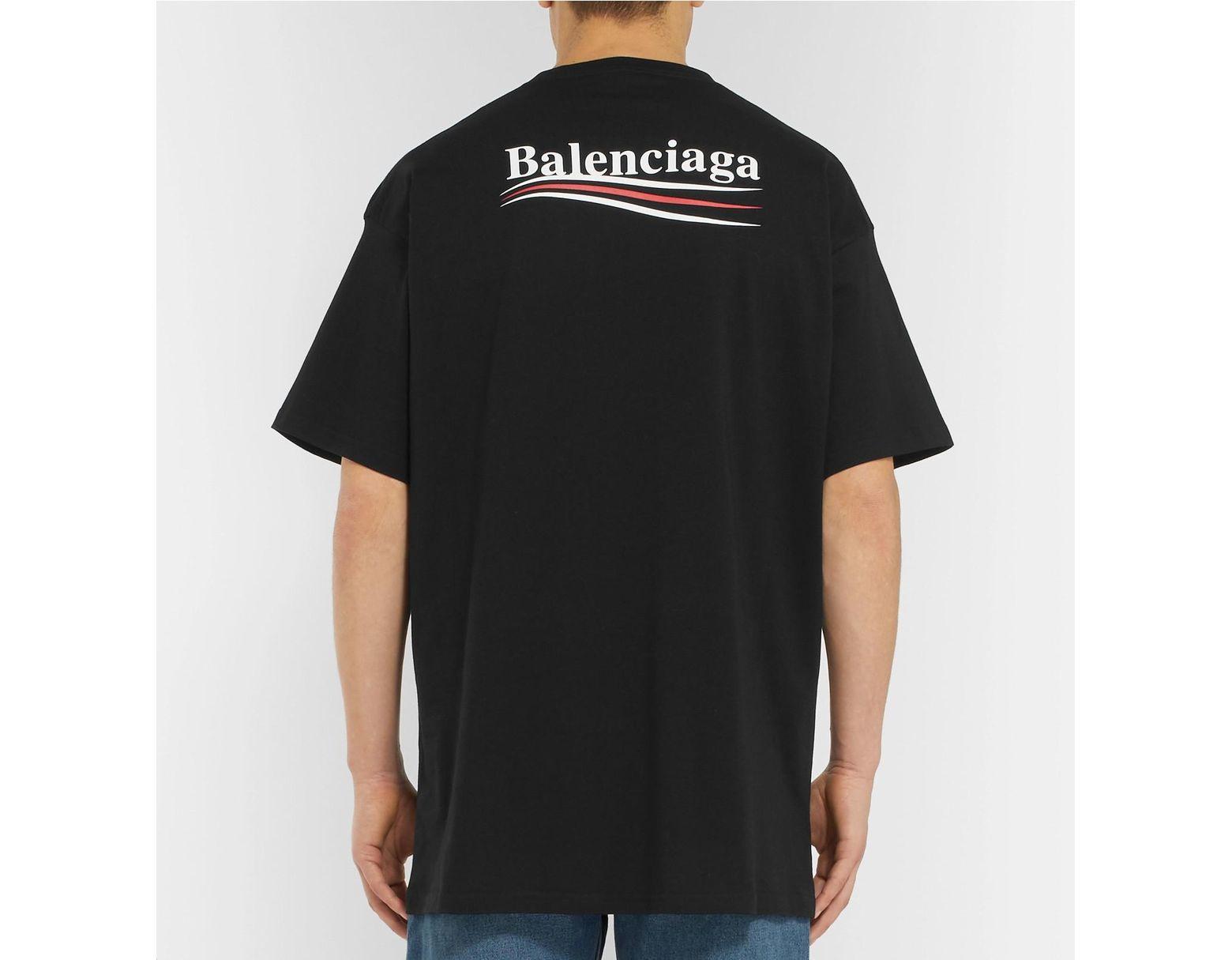f2770857b752 Balenciaga Oversized Logo-print Cotton-jersey T-shirt in Black for Men -  Save 32% - Lyst