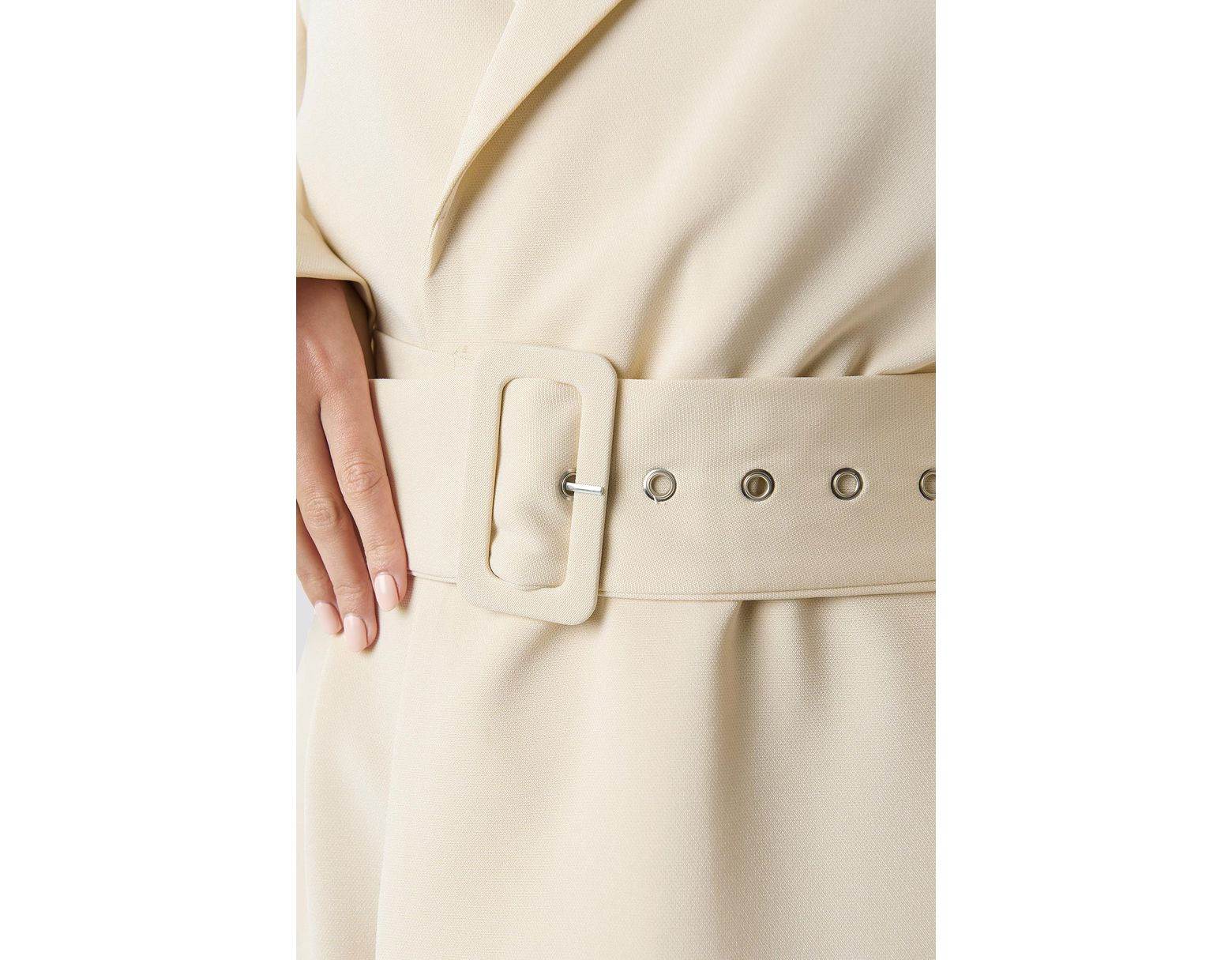 a95a8413a112 NA-KD Wide Sleeve Belted Blazer Dress White in White - Lyst