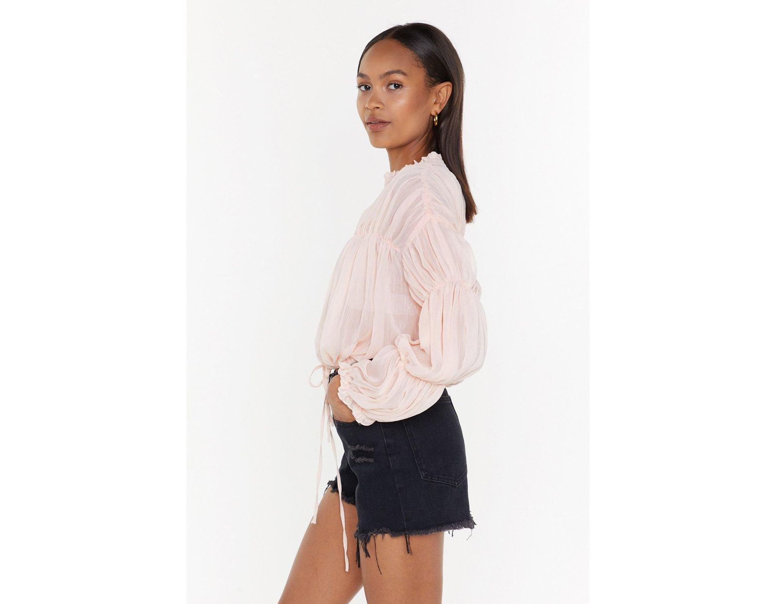 e3b4ef18fd0 Nasty Gal Sheer For The Beer Ruched Blouse - Lyst