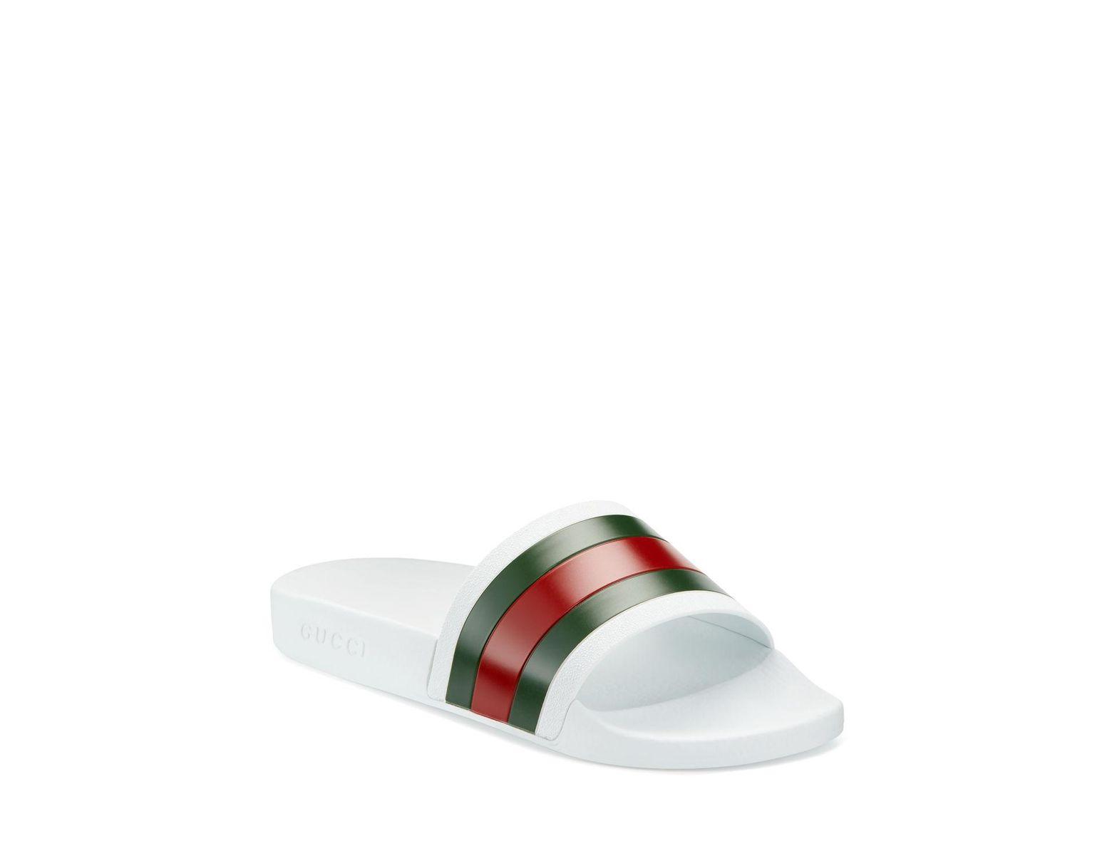 e1e06d40d Gucci Men's Pursuit 72 Rubber Slide Sandal - Black in White for Men - Save  24% - Lyst