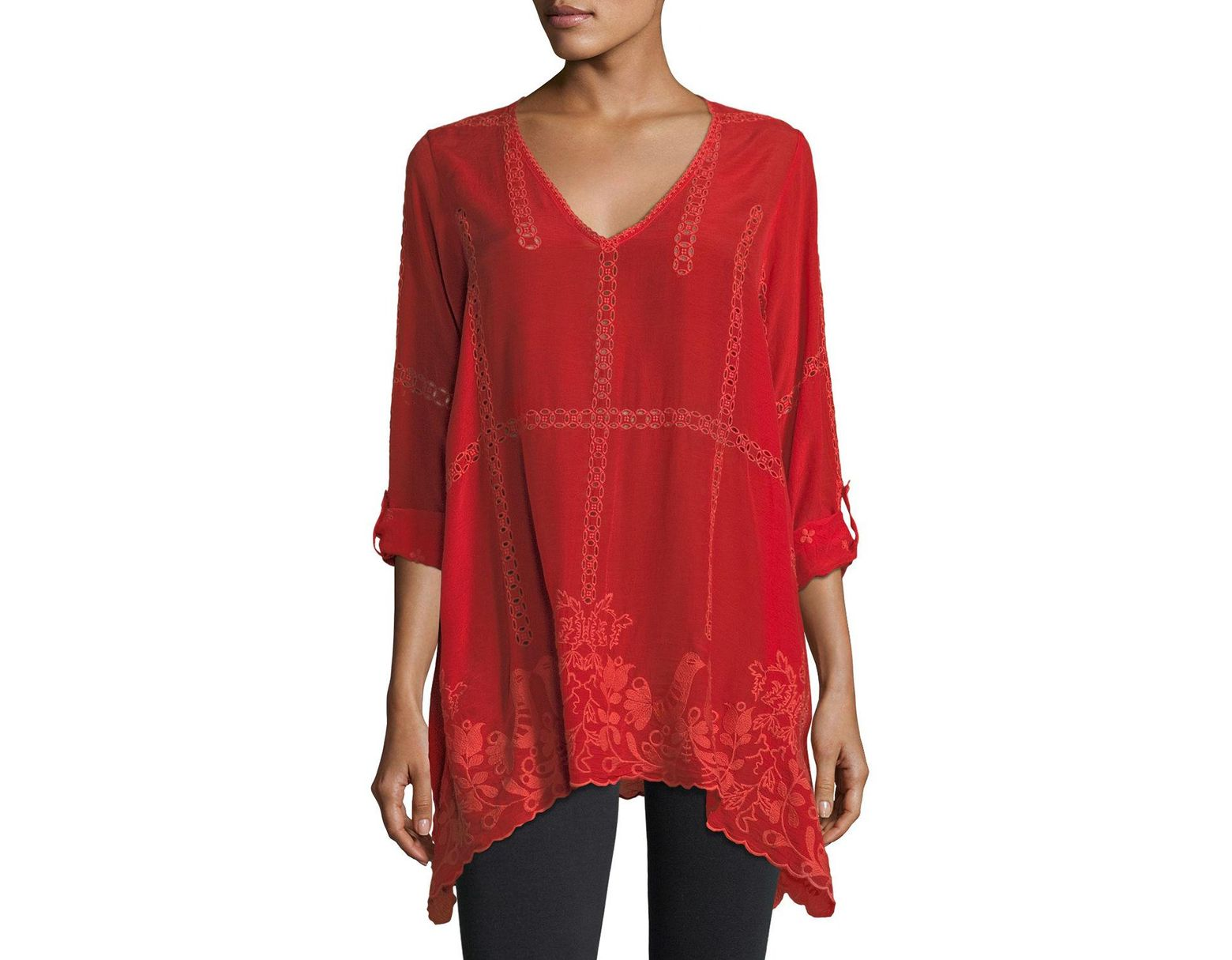 df31149cbbf382 Johnny Was Petite Cage Flare Long-sleeve Tunic in Red - Save 37% - Lyst
