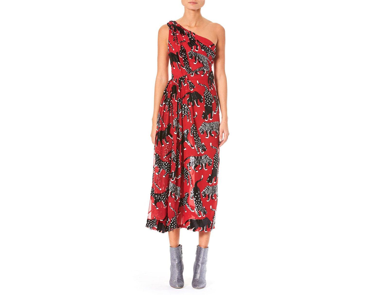 73f1086668f Lyst - Carolina Herrera One-shoulder Wildcat-print Cocktail Dress in ...