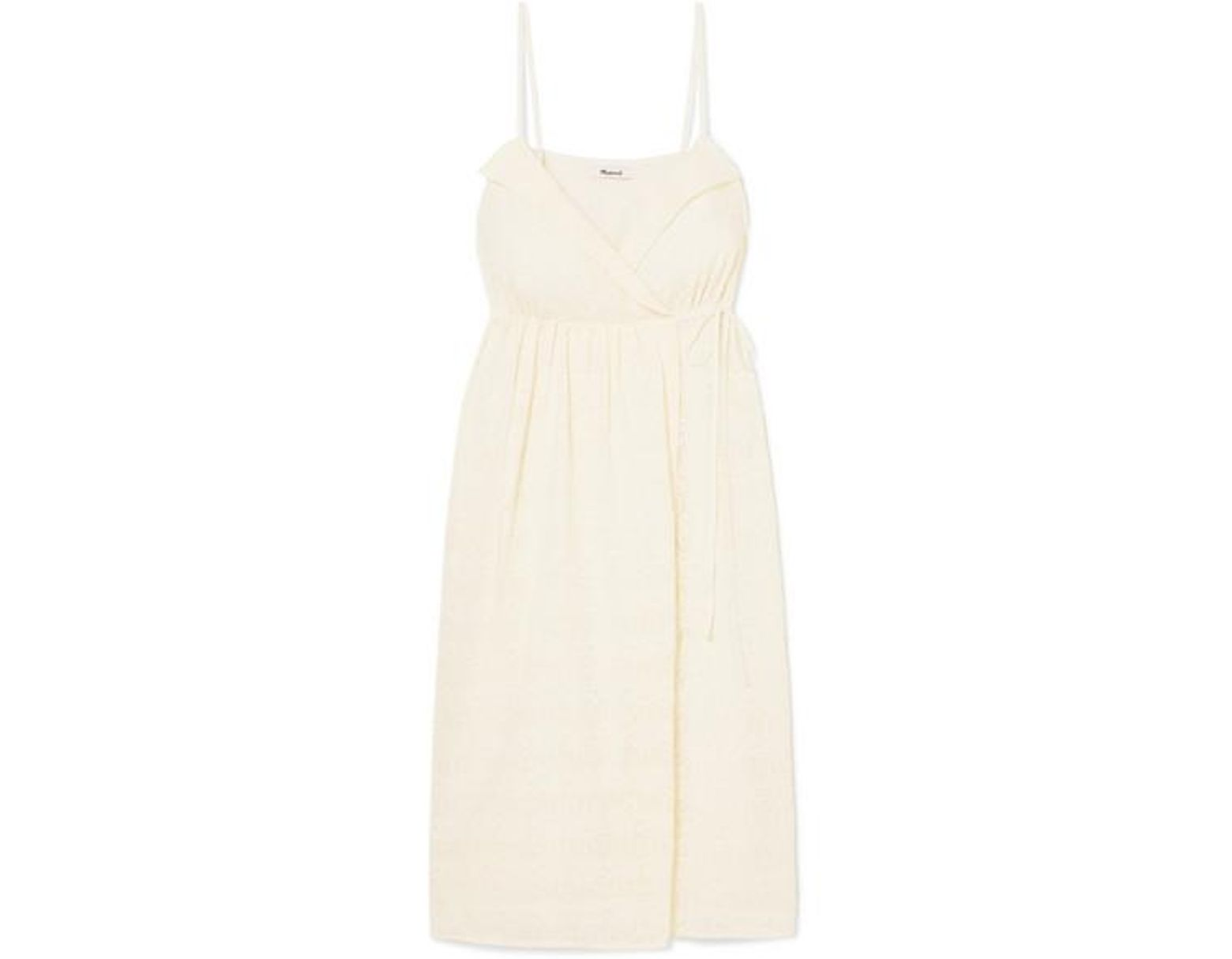 9a5ce5dd60 Madewell Pleated Embroidered Voile Wrap Dress in Natural - Lyst