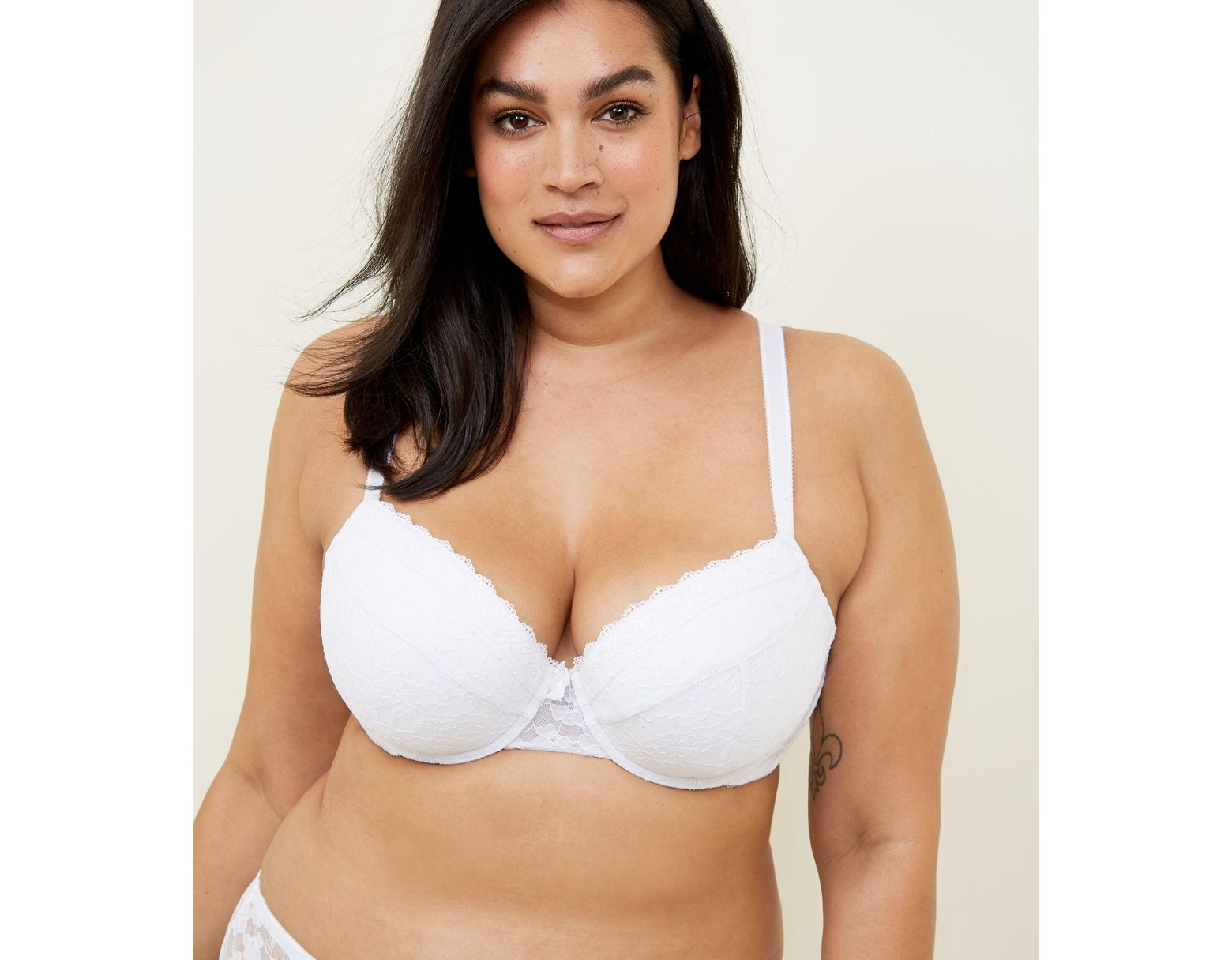 ff38bc89599b2 New Look Curves White Lace Bra in White - Lyst