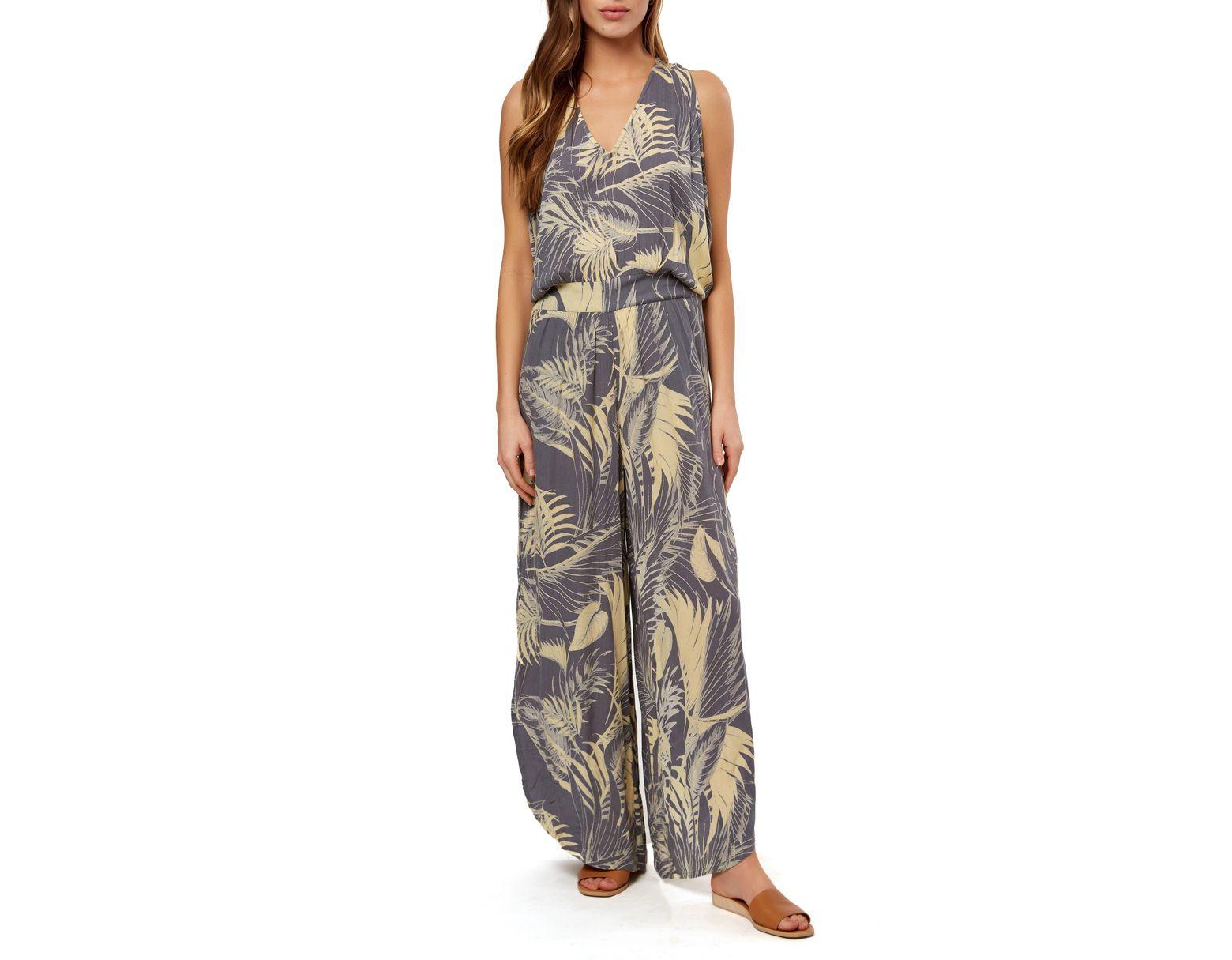 32d40061842 O neill Sportswear Kassidy Leaf Print Jumpsuit - Lyst