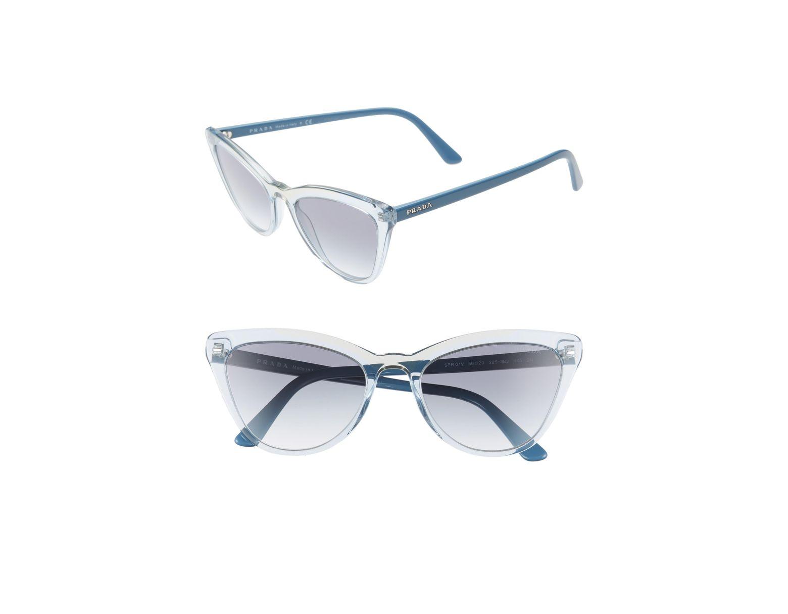 6bec43f520 Lyst - Prada 56mm Cat Eye Sunglasses -