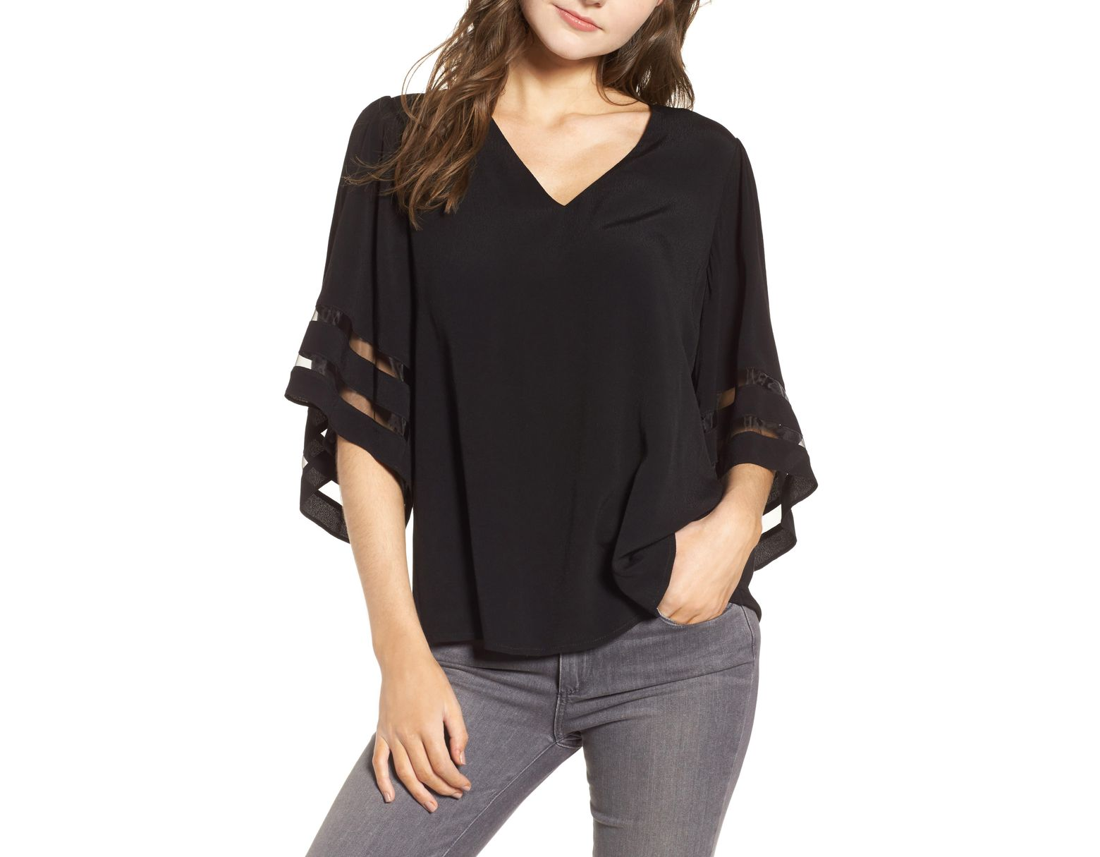 2657cc74d76789 Chelsea28 Illusion Sleeve Top in Black - Save 68% - Lyst