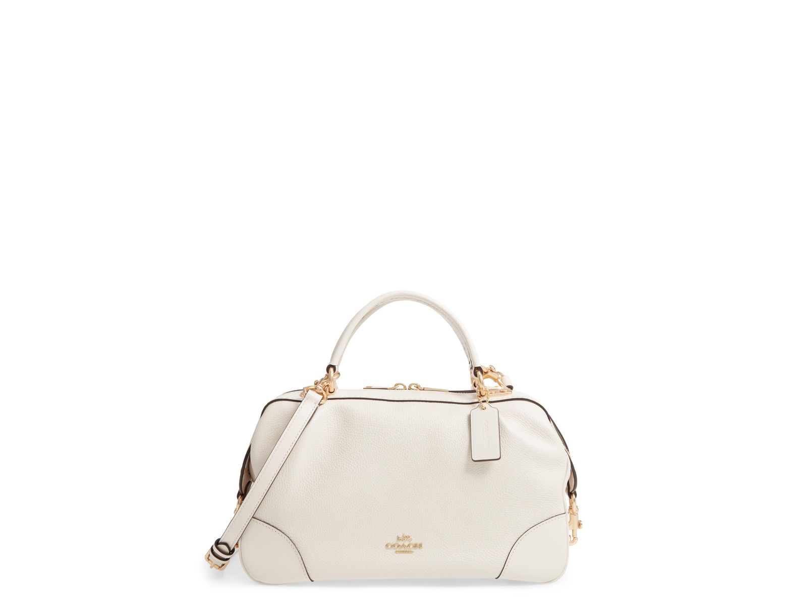 483d1af3eb COACH Aidy Leather Satchel in Natural - Lyst