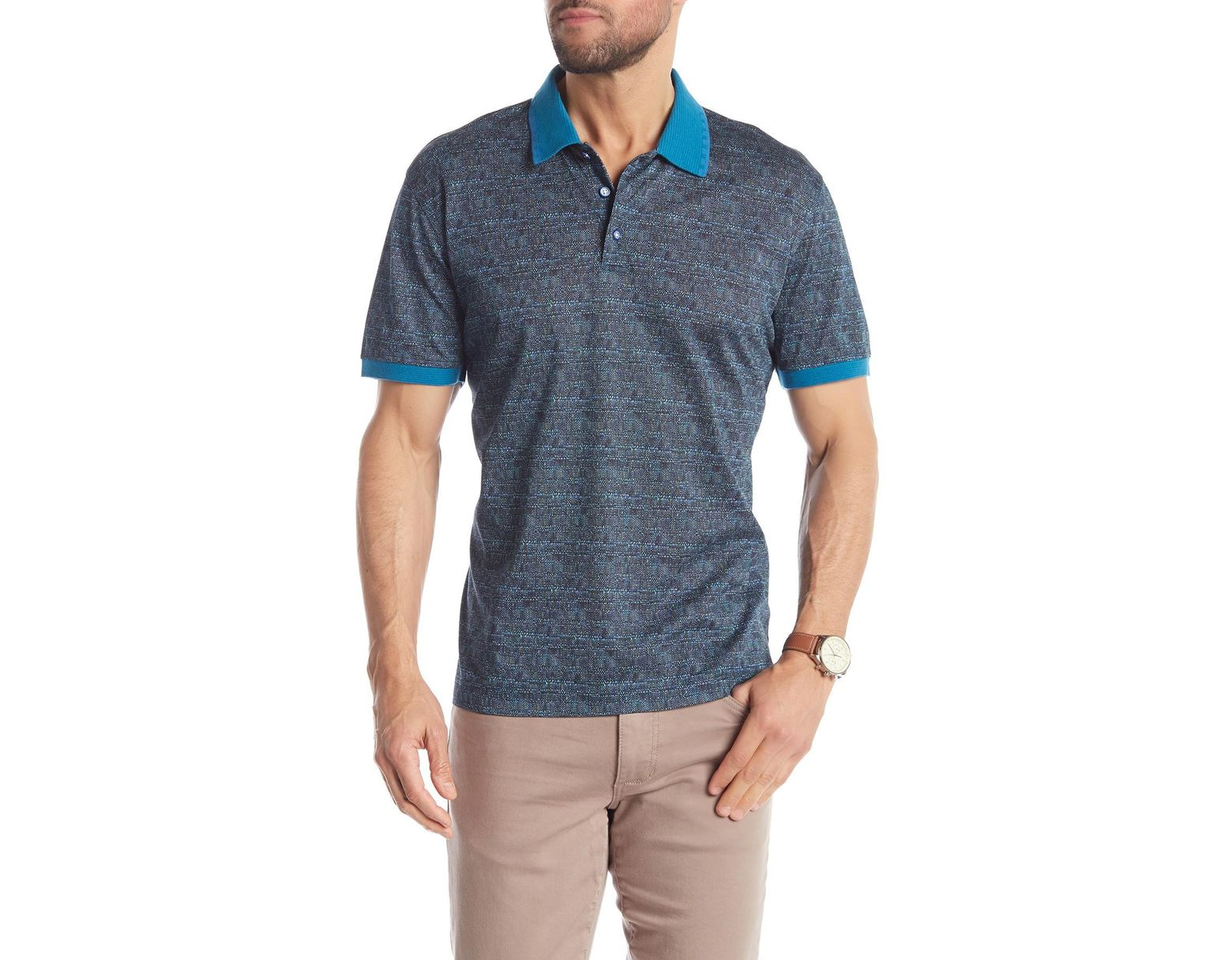 e0482adf Robert Graham Lewis Patterned Short Sleeve Polo in Blue for Men - Lyst