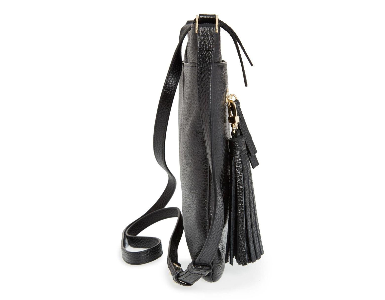 a3fed1edfc Halogen Tasseled Leather Crossbody Bag in Black - Lyst