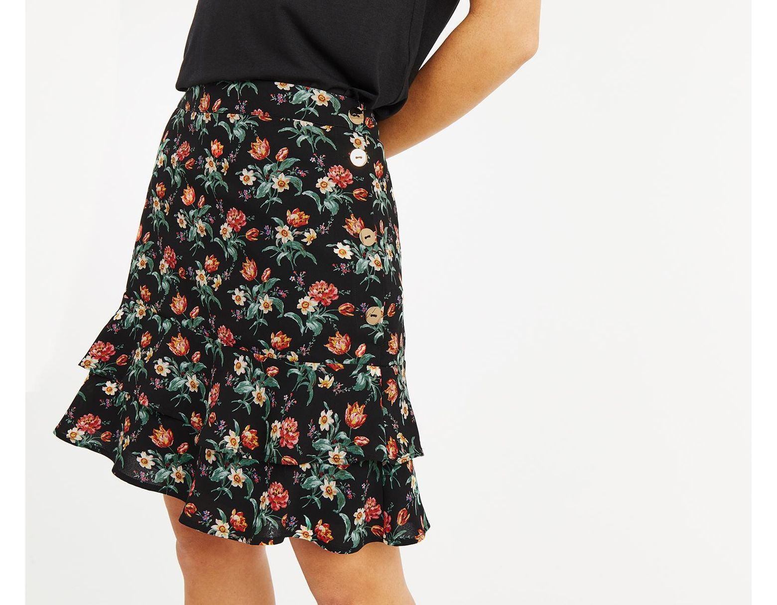 35cb738558b Oasis Willow Ditsy Tiered Skirt in Black - Save 44% - Lyst