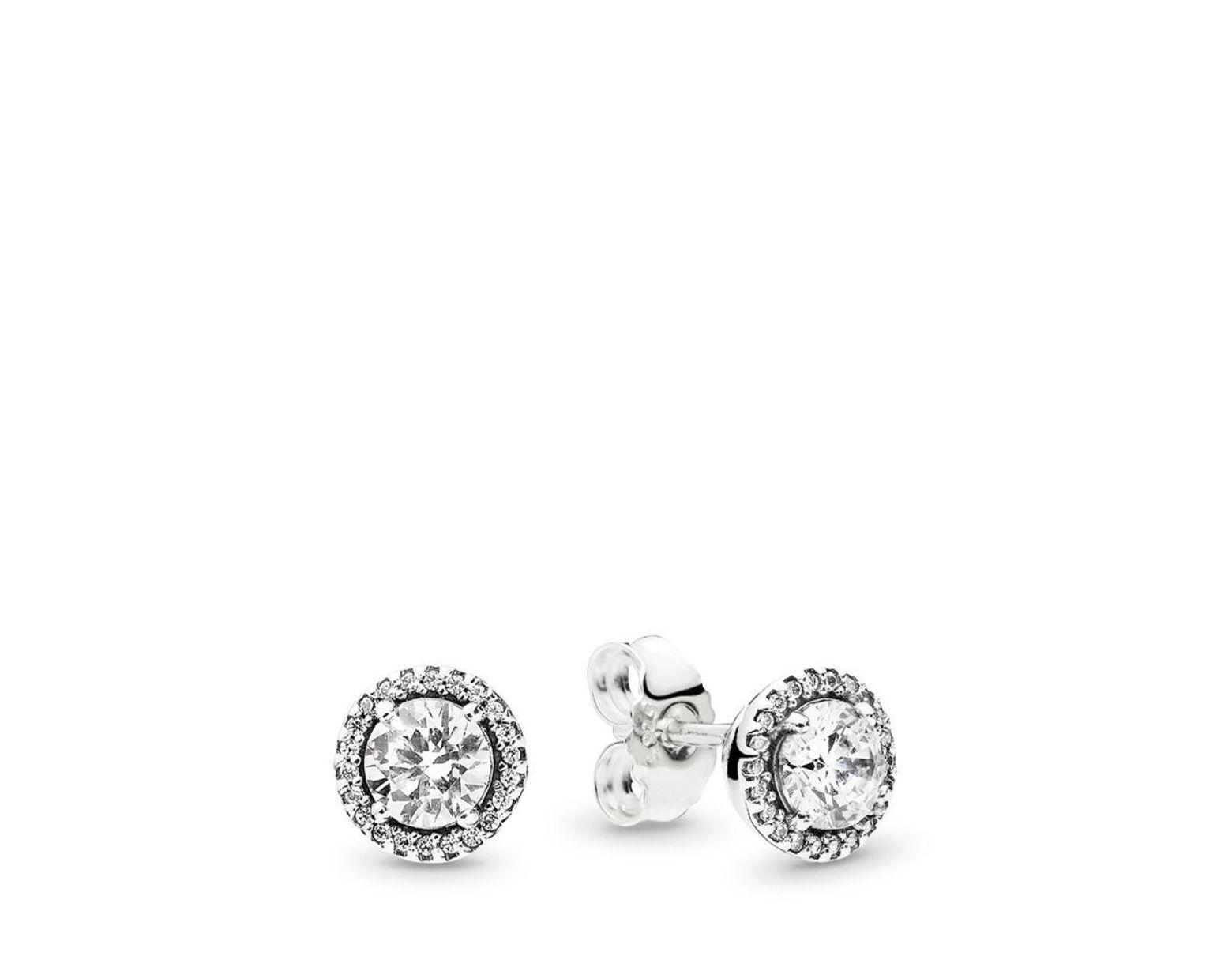 9bd8b226e PANDORA Round Sparkle Stud Earrings in Metallic - Save 25% - Lyst
