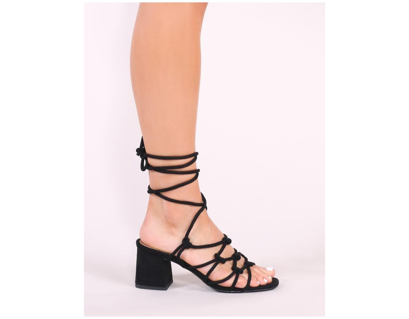 aeacf597ff4e Lyst - Public Desire Freya Knotted Strappy Block Heeled Sandals In Black  Faux Suede in Black