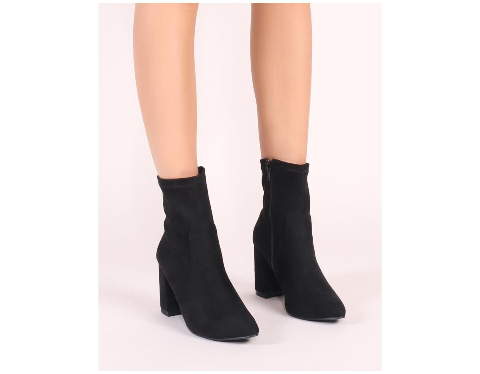 bfdaeb4955a2ff Public Desire Raya Pointed Toe Ankle Boots In Black Faux Suede in Black -  Lyst