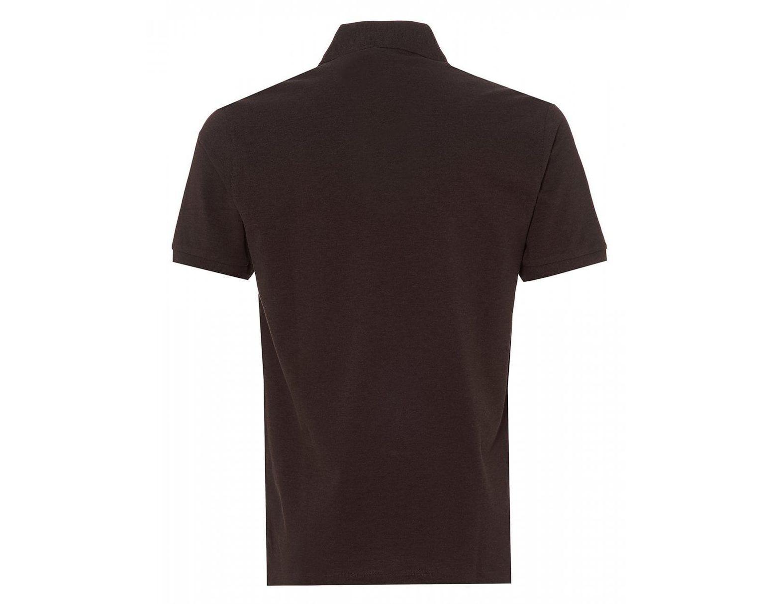18d2a8c60 BOSS Pallas Pique Polo Shirt, Dark Brown Regular Fit Polo in Brown for Men  - Lyst