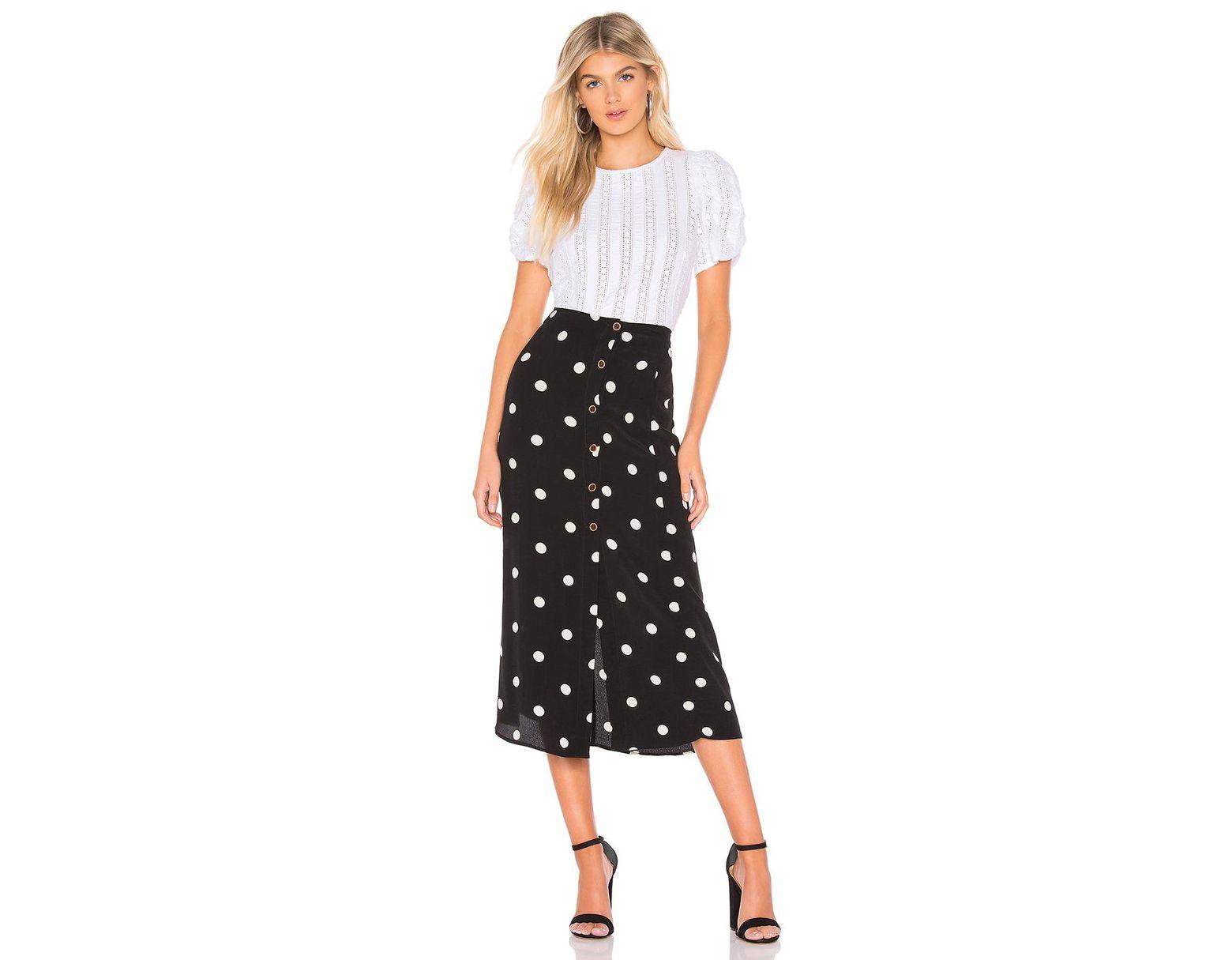 63119a8c572d6c Free People Reto Love Polka Dot Midi Skirt - Womens Uk 8 in Black - Save  50% - Lyst