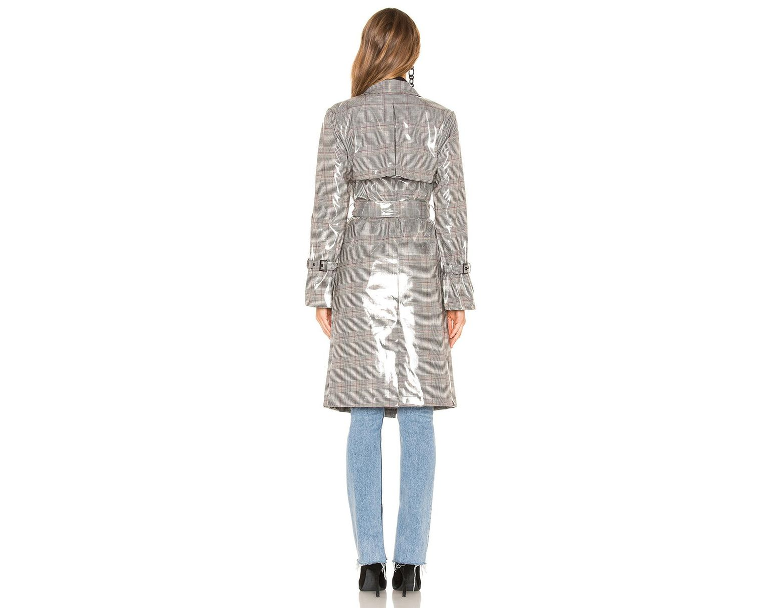 562b5027dab8e LPA Vinyl Trench Coat in Gray - Lyst