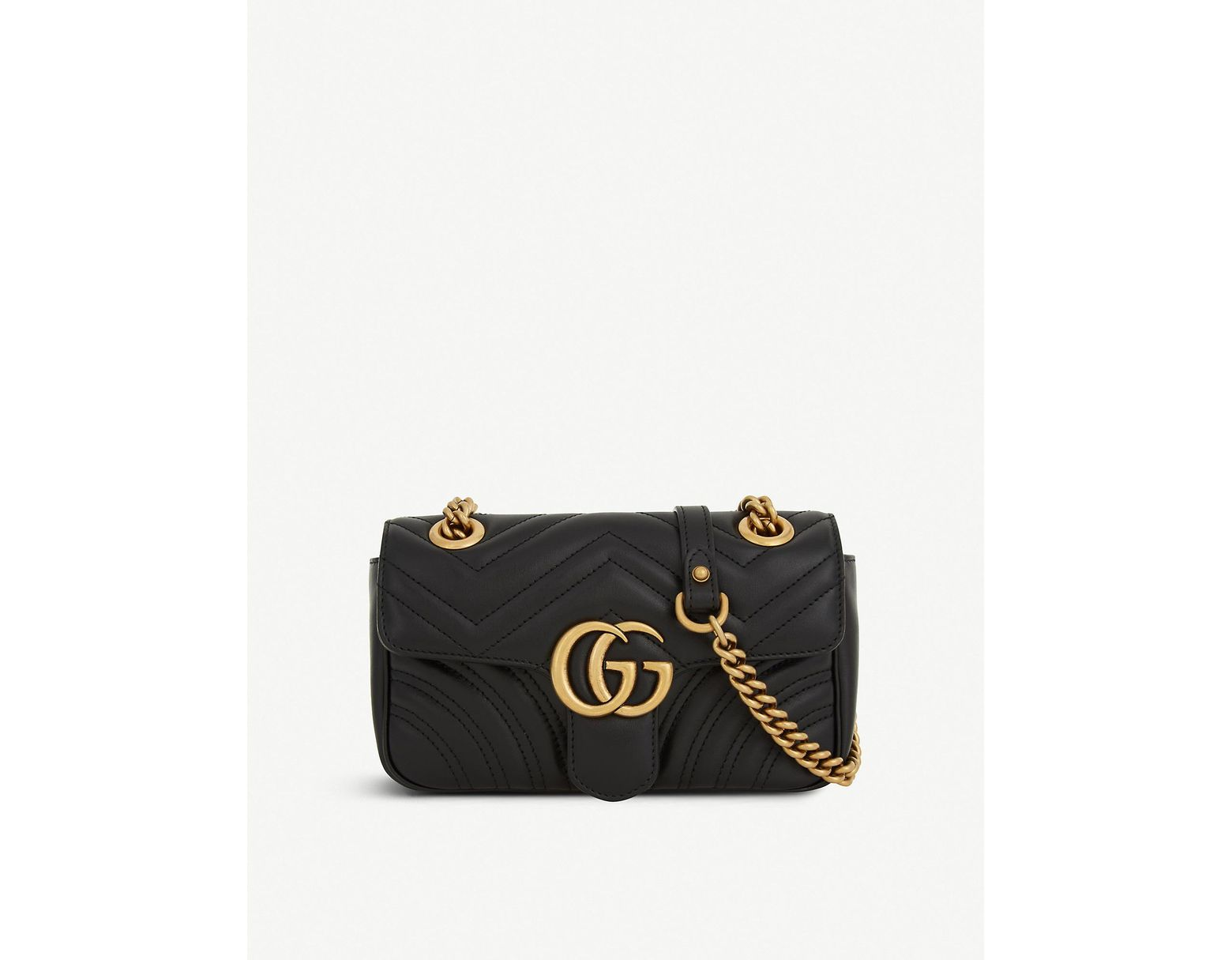 0dd6b728df6 Lyst - Gucci Women s Black Heart Embroidered Marmont GG Mini Leather Cross  Body Bag in Black