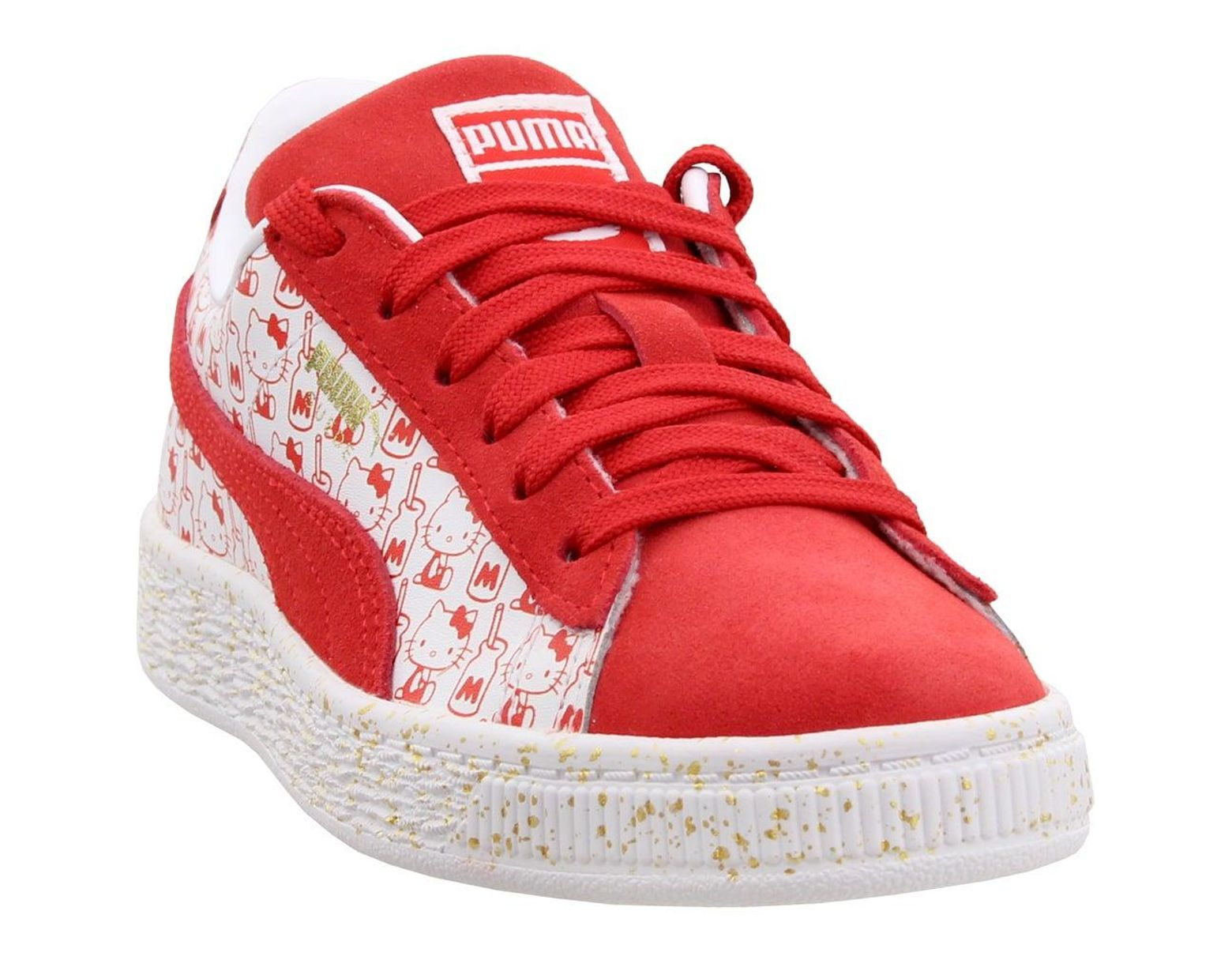 sports shoes 48d83 49442 Women's Red Suede Classic X Hello Kitty Sneakers