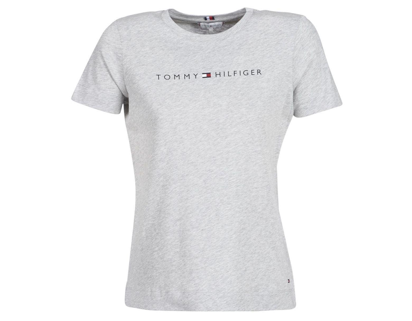 78a0828e8 Tommy Hilfiger Essential Hilfiger Crew Neck Tee Women's T Shirt In Grey in  Gray - Lyst