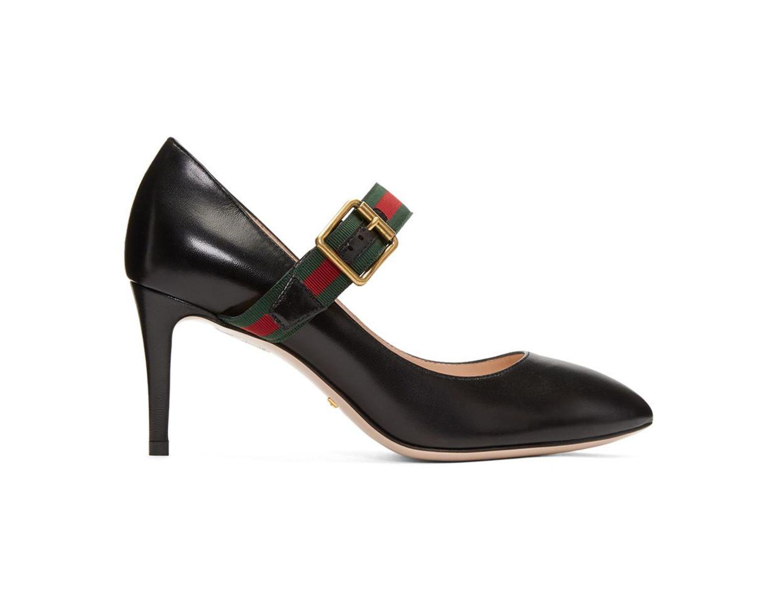 a2e01592d Gucci Black Ribbon Heels in Black - Lyst