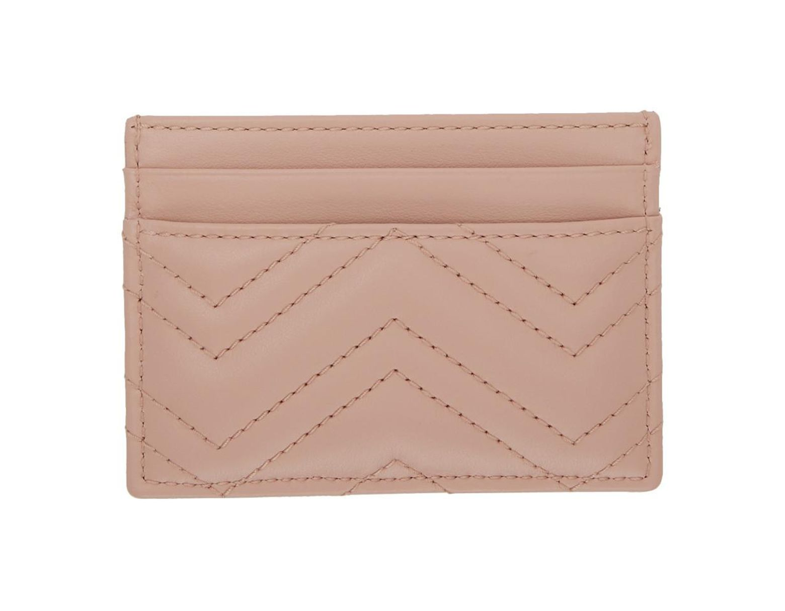 973e968699cc56 Gucci Pink GG Marmont Card Holder in Pink - Save 30% - Lyst