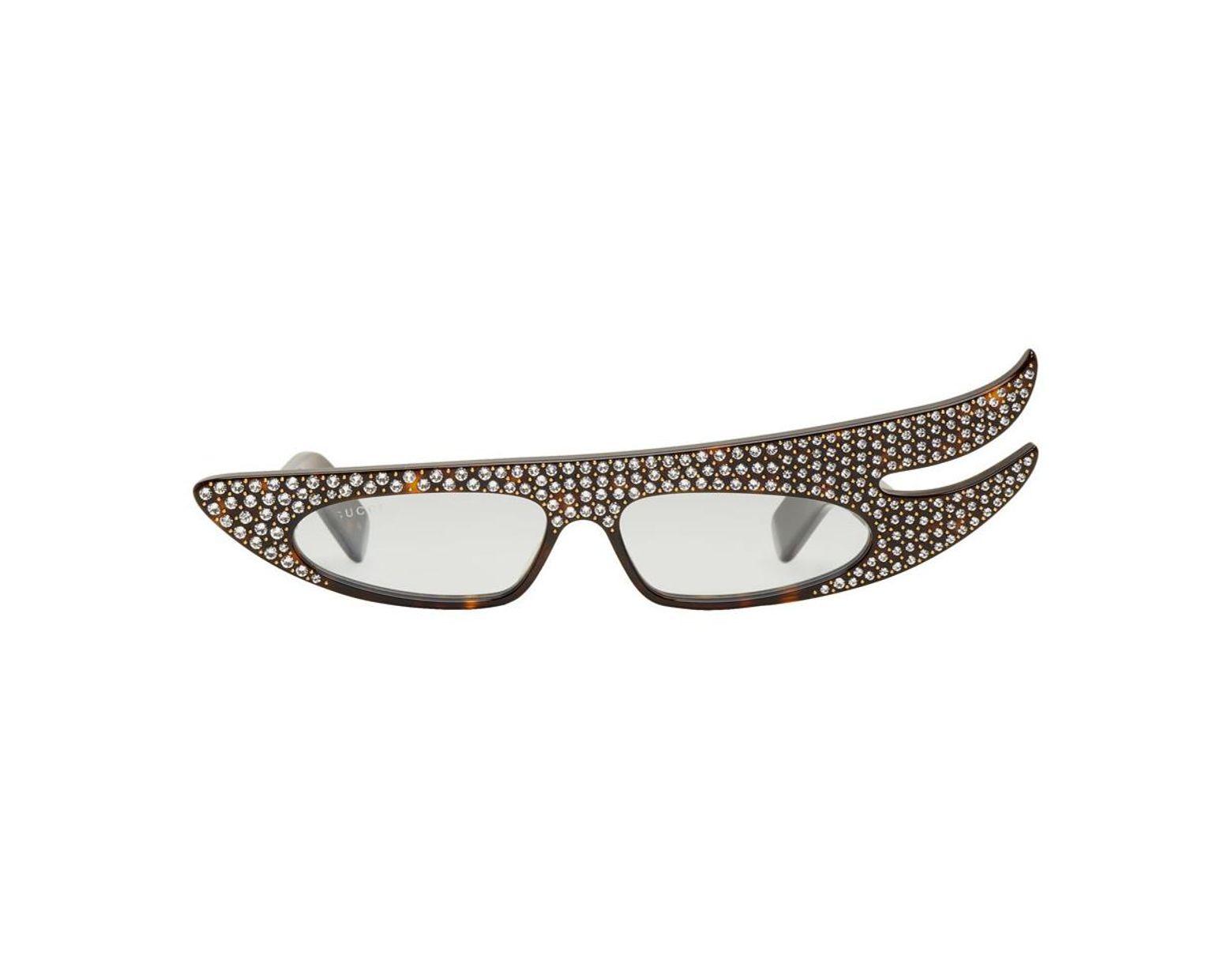 b1b6b0cff Gucci Tortoiseshell Asymmetric Rhinestone Sunglasses for Men - Lyst