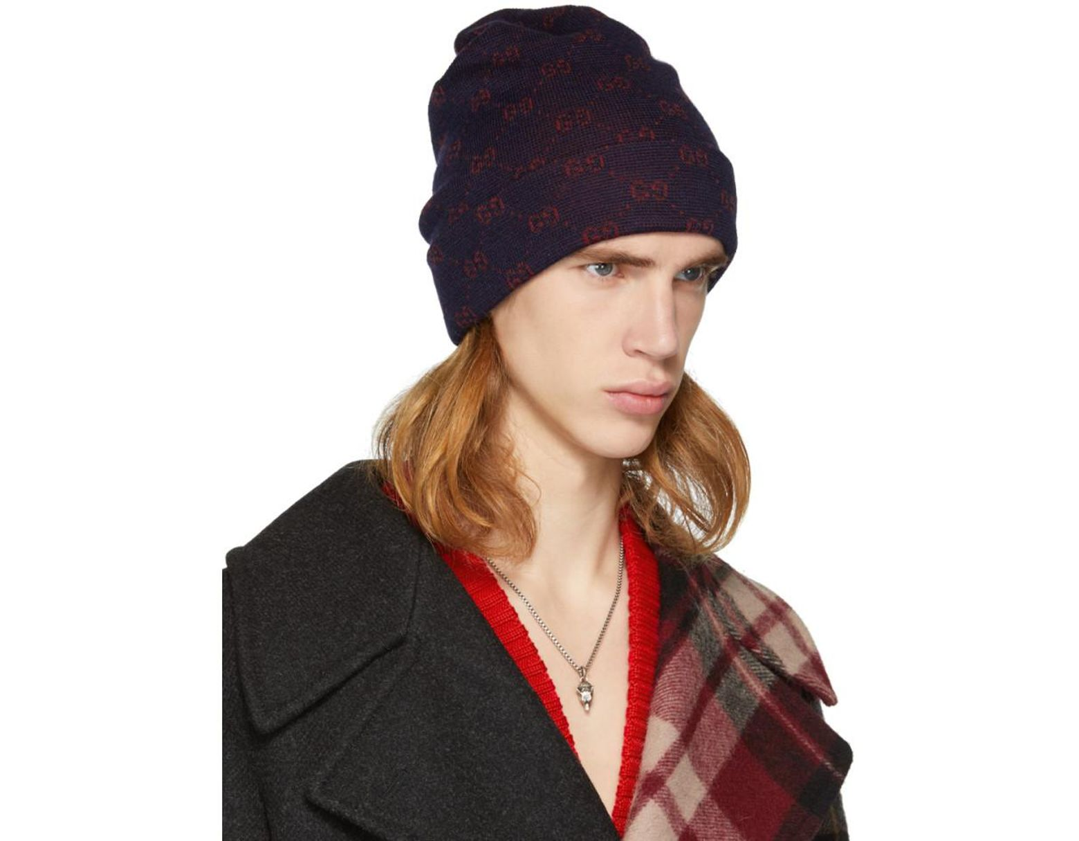dada3bc6 Gucci Navy And Red Alpaca GG Supreme Beanie in Blue for Men - Lyst