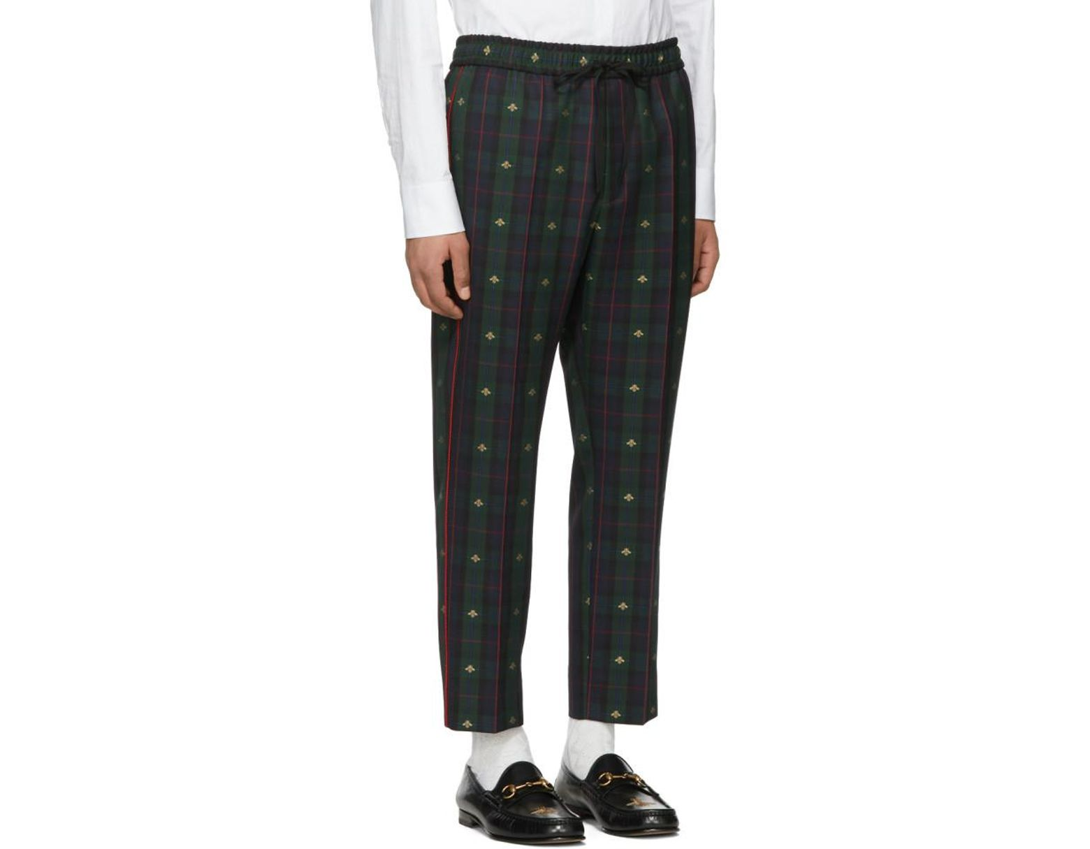 b0a5fe8393d Gucci Navy And Green Wool Check Bee Iconic Trousers in Green for Men - Lyst