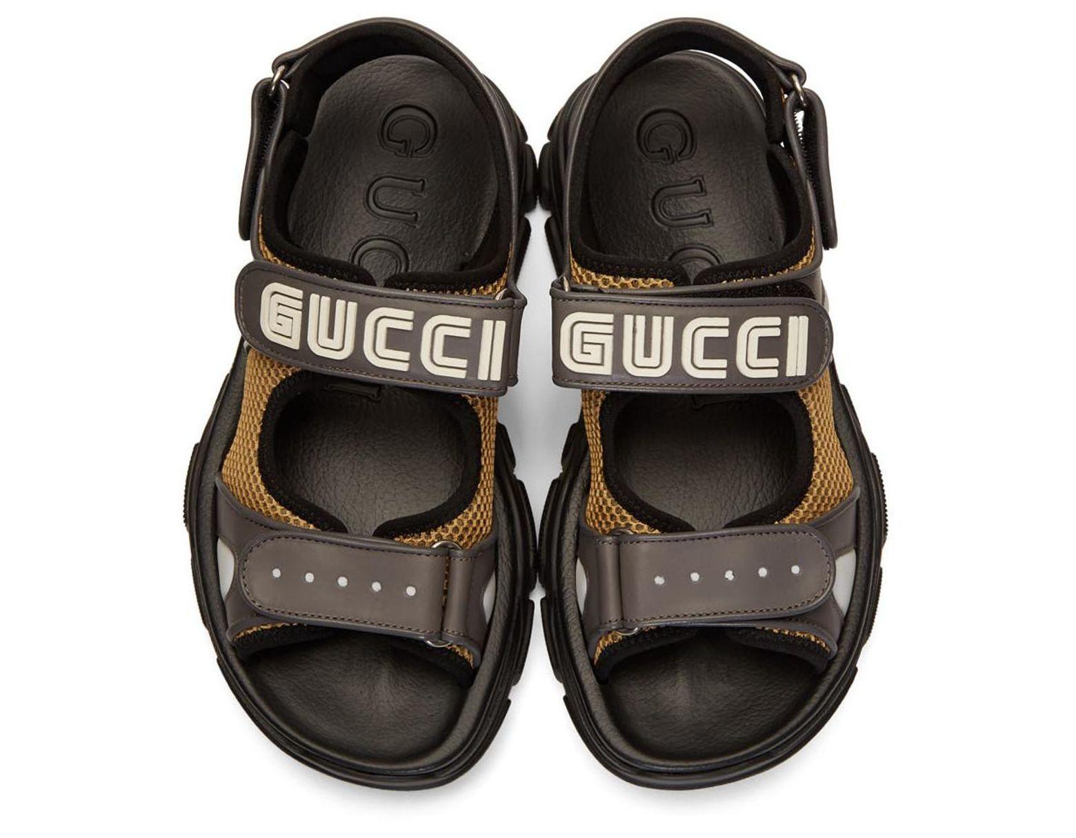 9de4ac4a992 Lyst - Gucci Grey Reflective Sega Aguru Sandals for Men