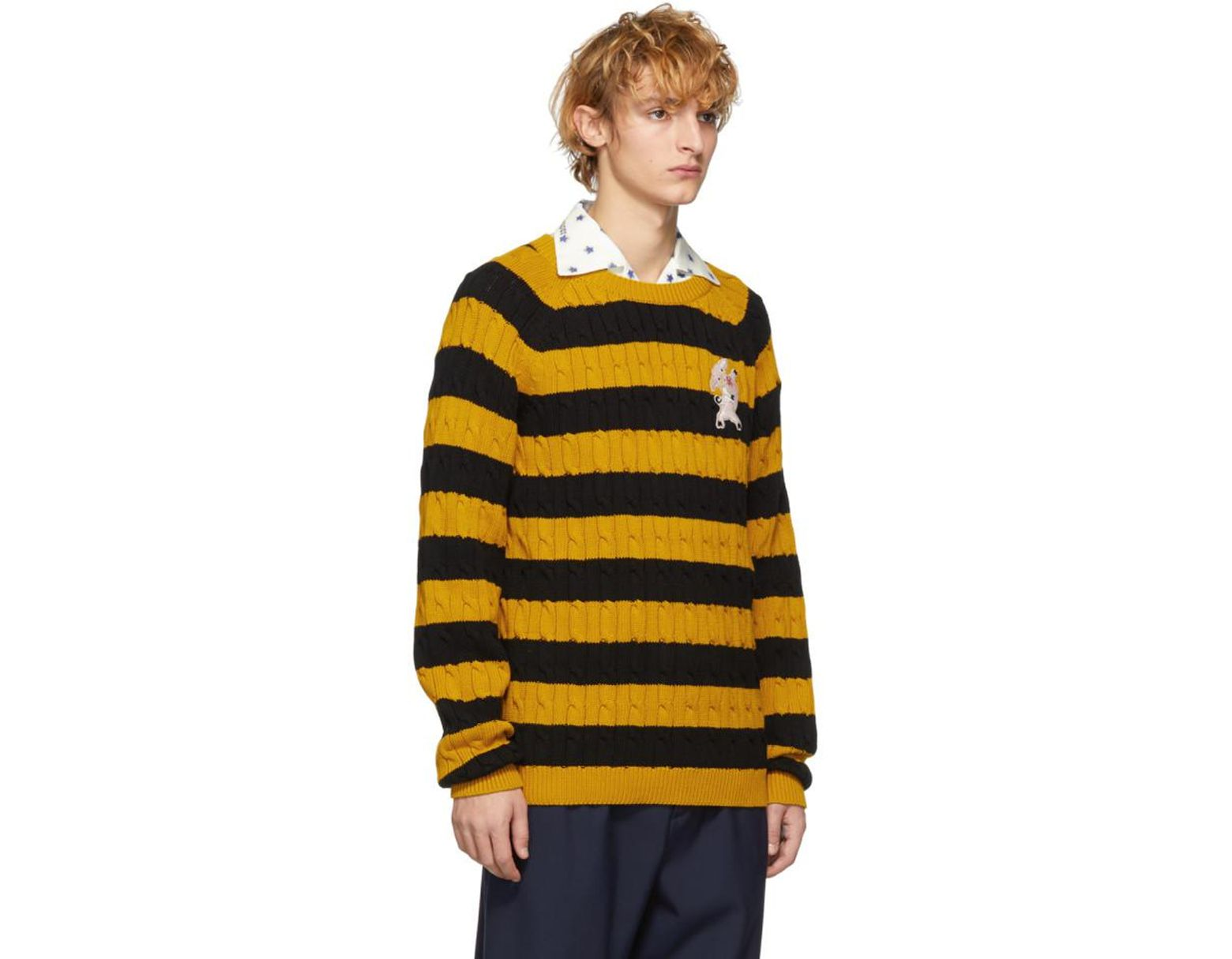 248b30376af Lyst - Gucci Black And Yellow Striped Embroidered Pig Sweater in ...