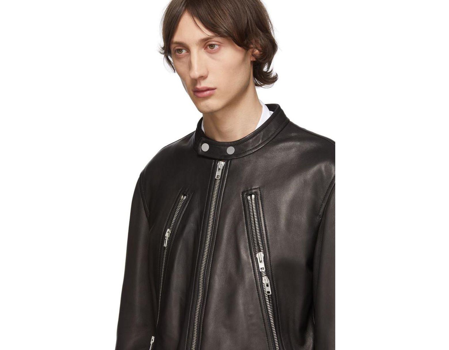 3f53d1eb8 Maison Margiela Black Leather 5-zip Sports Jacket in Black for Men ...