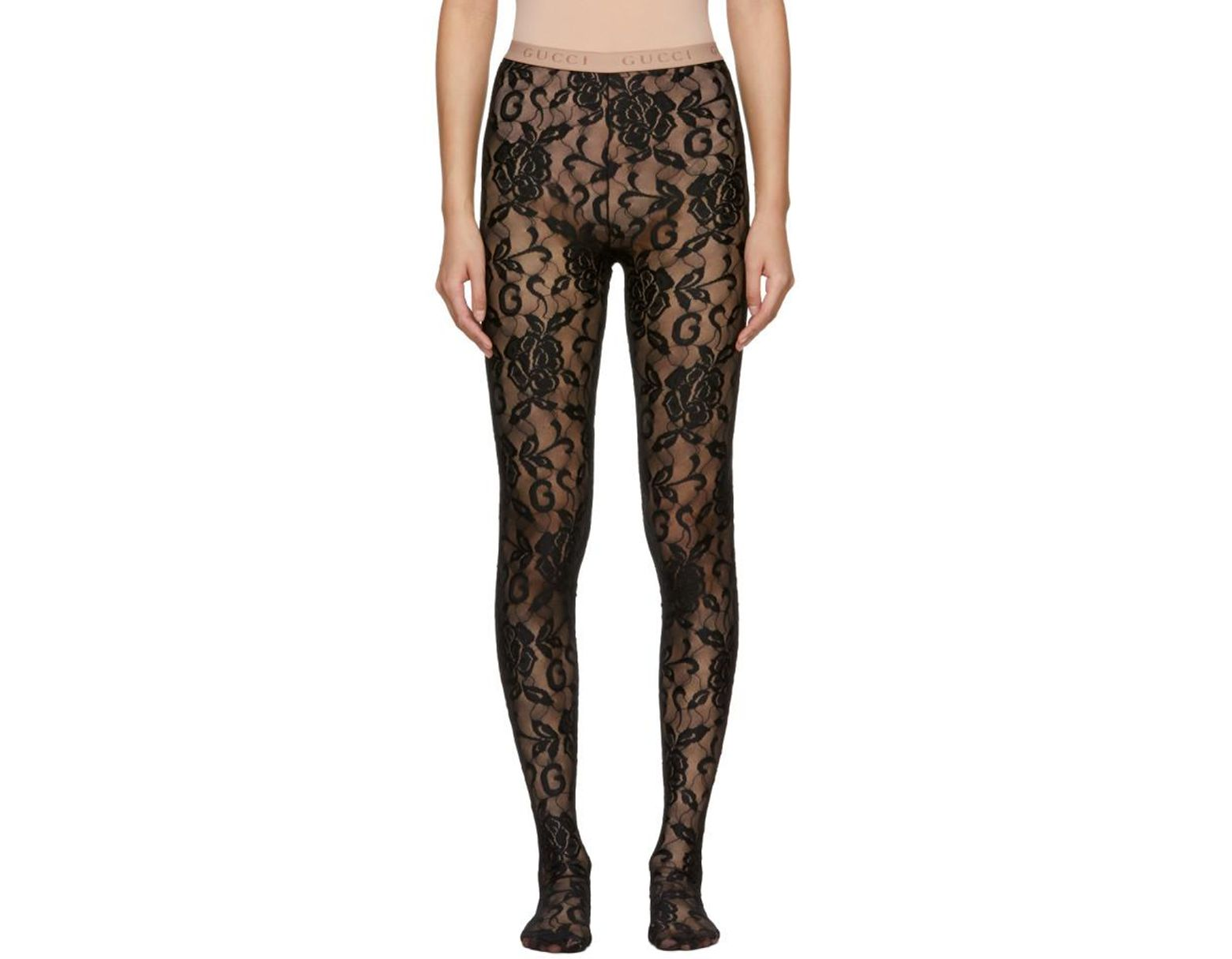 00d7b1bdc Gucci Black Lace Tights in Black - Lyst
