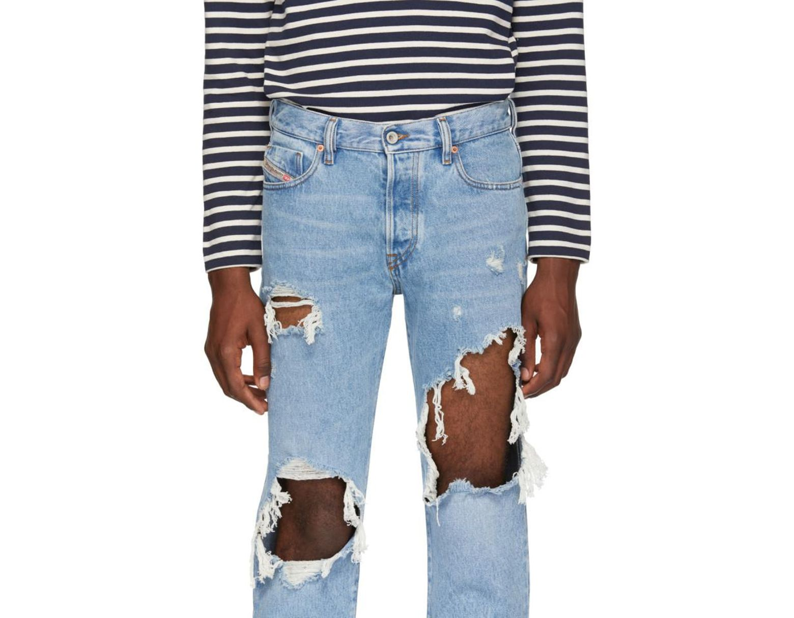 045614bd8f9 DIESEL Blue Distressed Mharky Jeans in Blue for Men - Save 55% - Lyst