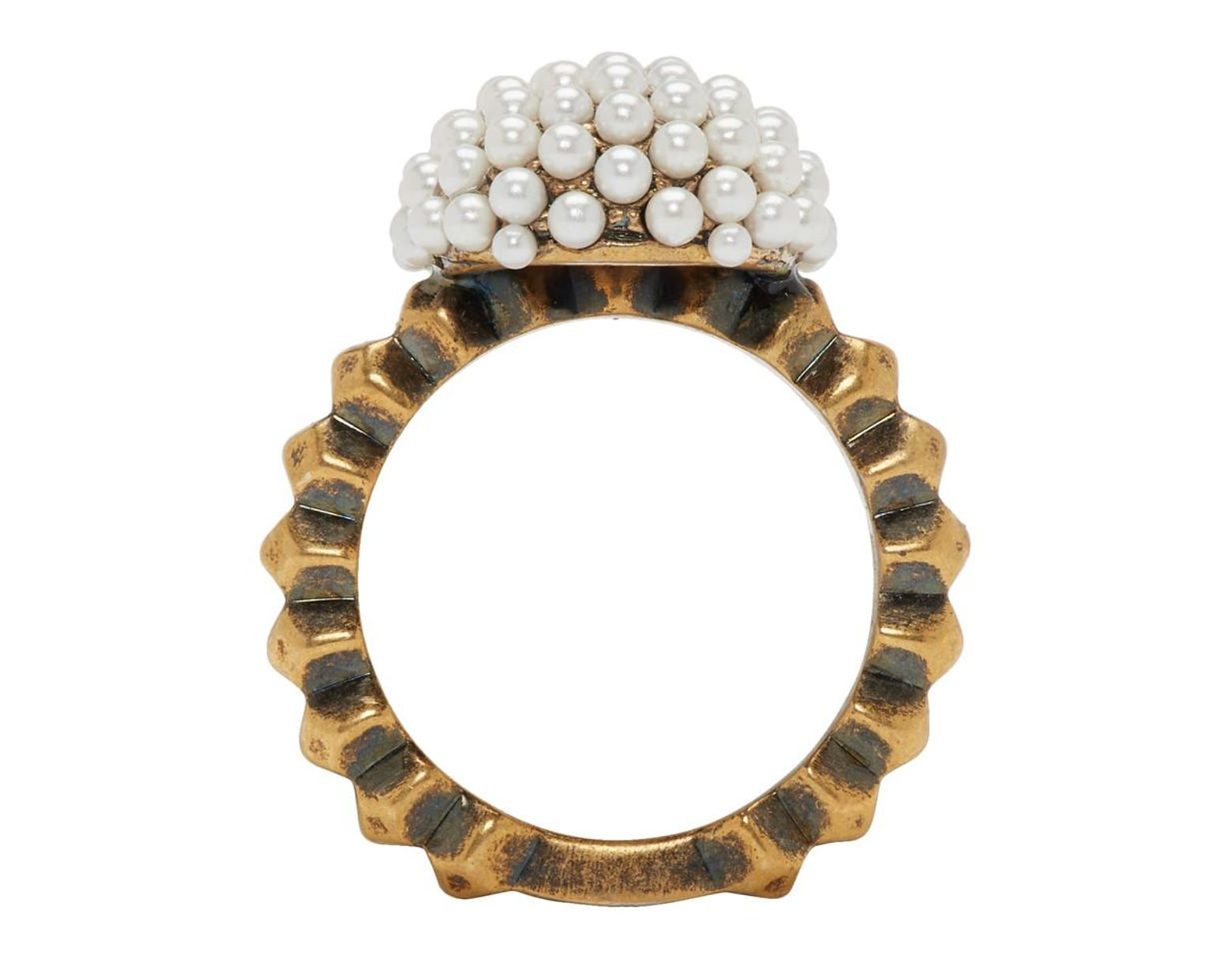 7188f15b5 Gucci Gold Small Pearl Pineapple Ring in Metallic - Save 50% - Lyst